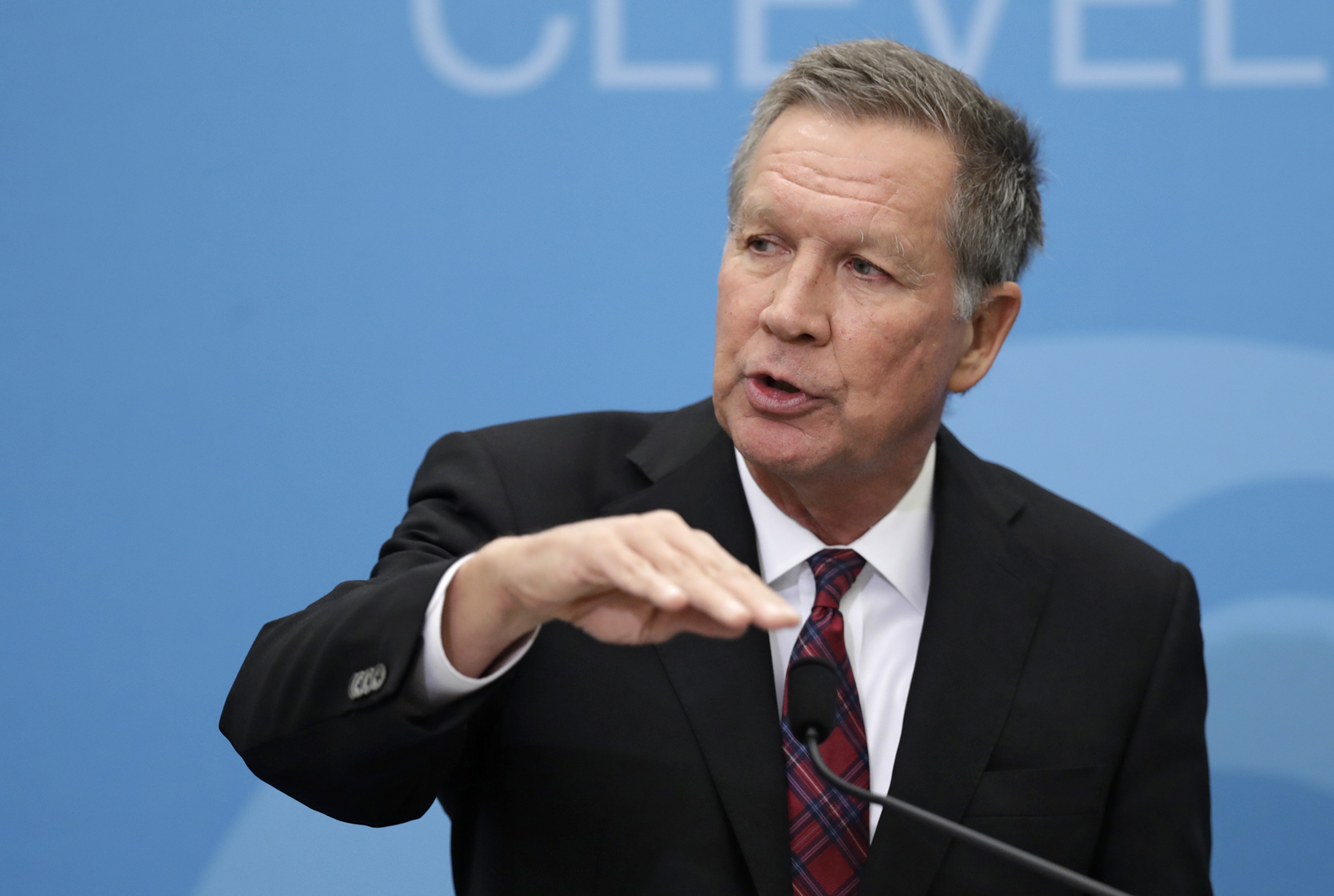 In this Dec. 4, 2018, then Ohio Gov. John Kasich speaks at The City Club of Cleveland, in Cleveland.