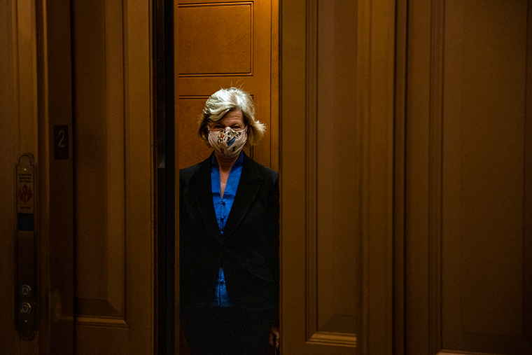 Sen. Lisa Murkowski (R-AK) leaves the Senate floor at the US Capitol building on December 20, 2020 in Washington, DC.