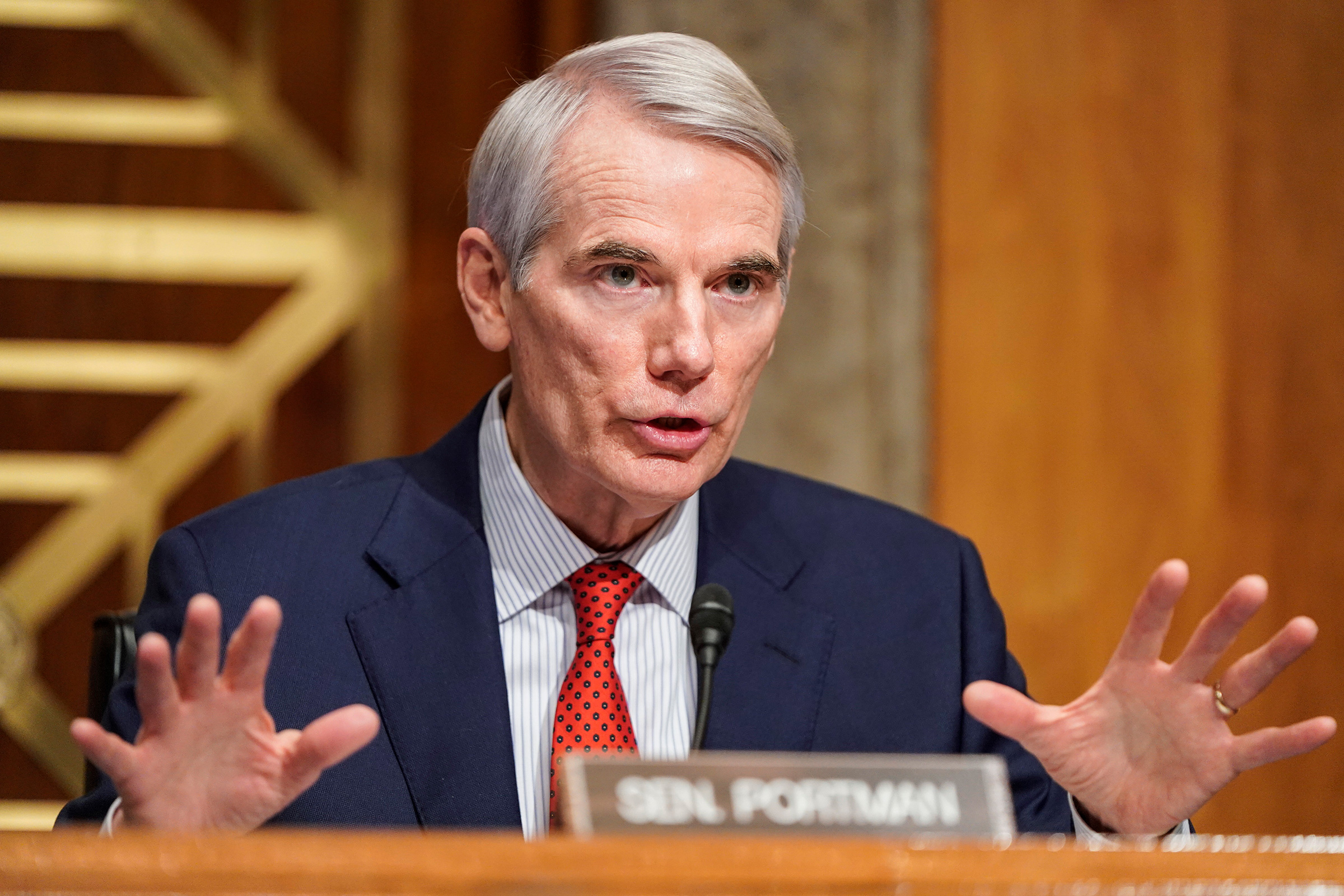 Sen. Rob Portman speaks during a Senate Homeland Security and Governmental Affairs confirmation hearing on Capitol Hill on January 19, in Washington, DC.
