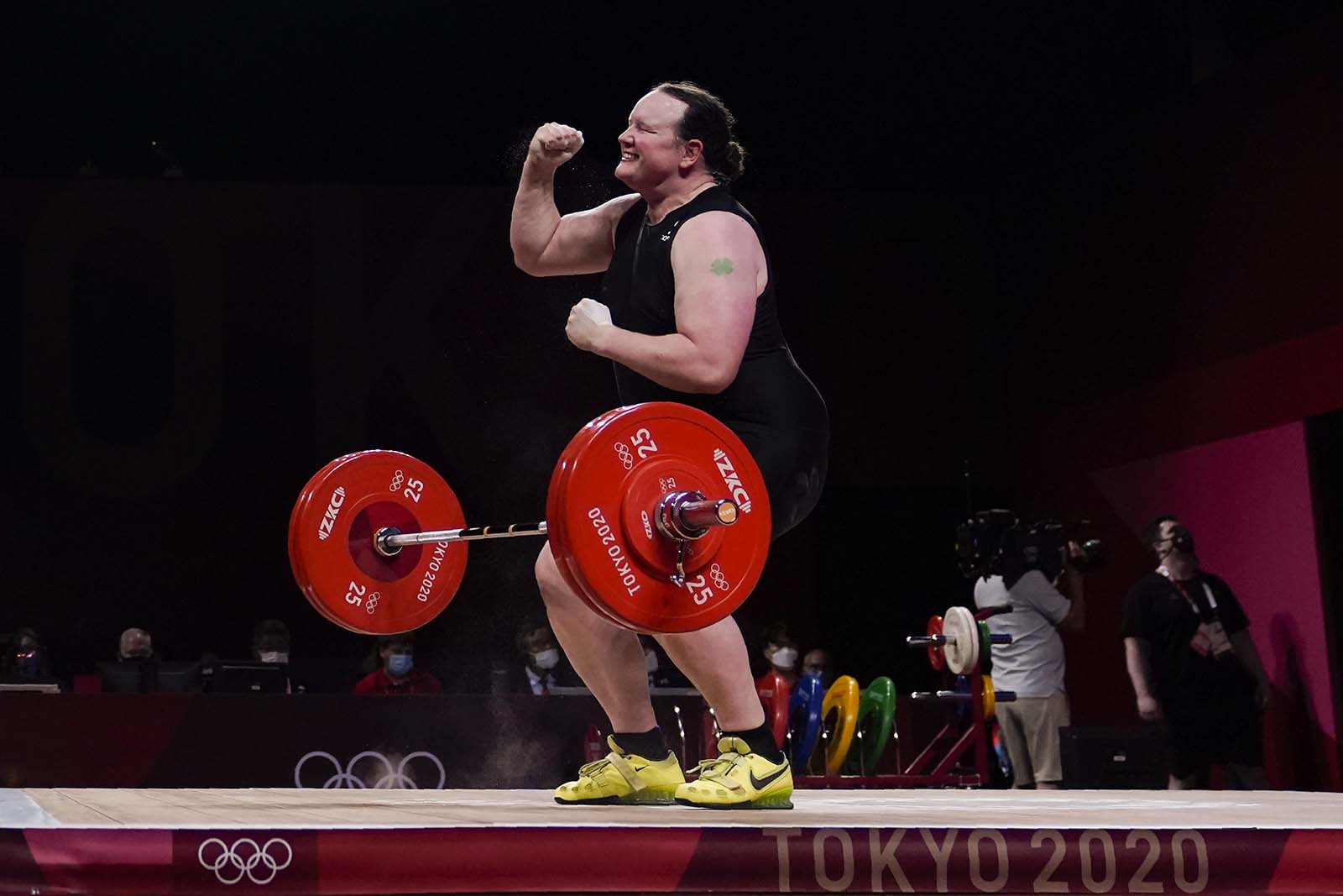 Laurel Hubbard of New Zealand celebrates after a lift in the women's +87kg weightlifting event on August 2.