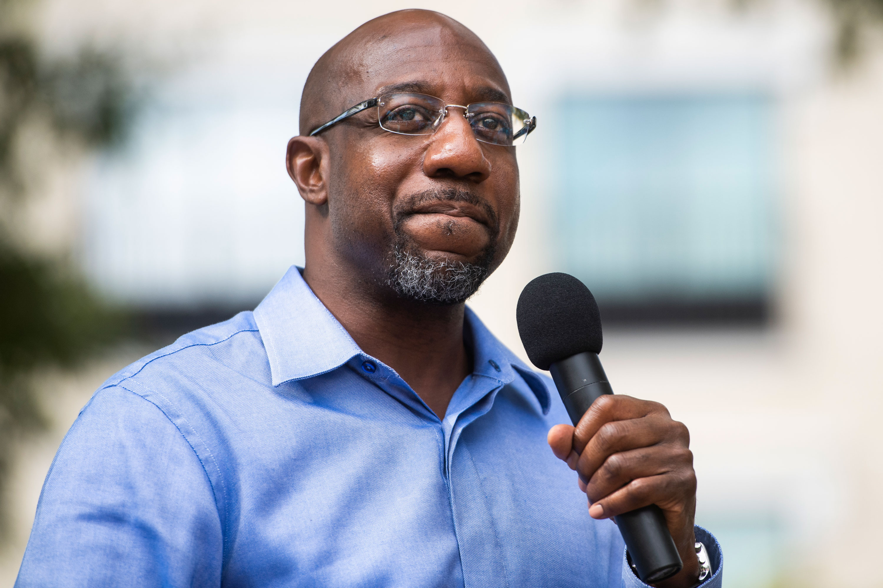 Democrat Senate candidate Raphael Warnock speaks during a campaign rally in LaGrange, Georgia, on October 29.