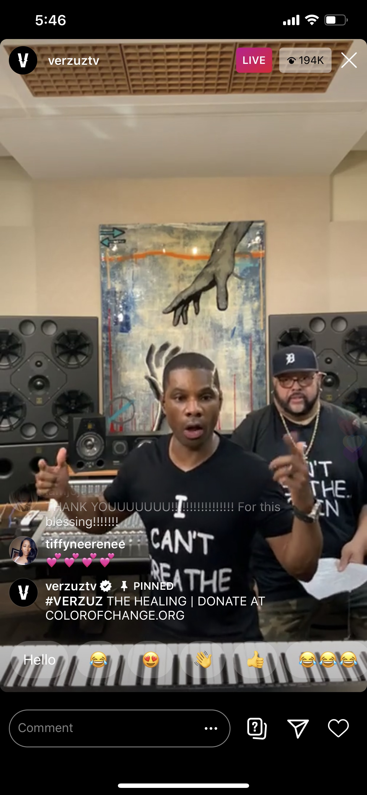 """Gospel artists Kirk Franklin and Fred Hammond wear """"I Can't Breathe Again"""" T-shirts during their Verzuz battle on Instagram Live on May 31, 2020."""