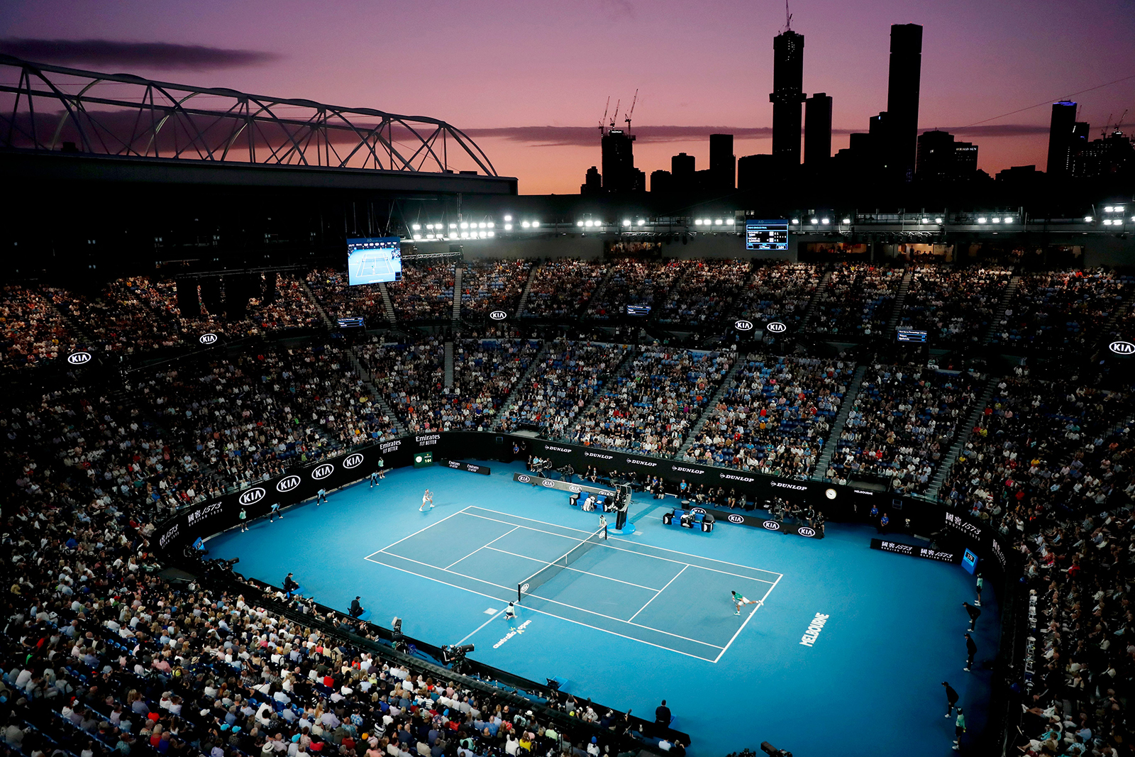 A general view of fans at Rod Laver Arena watching the men's singles final match between Novak Djokovic of Serbia and Dominic Thiem of Austria at the Australian Open Grand Slam tennis tournament in Melbourne, Australia, on February 2.