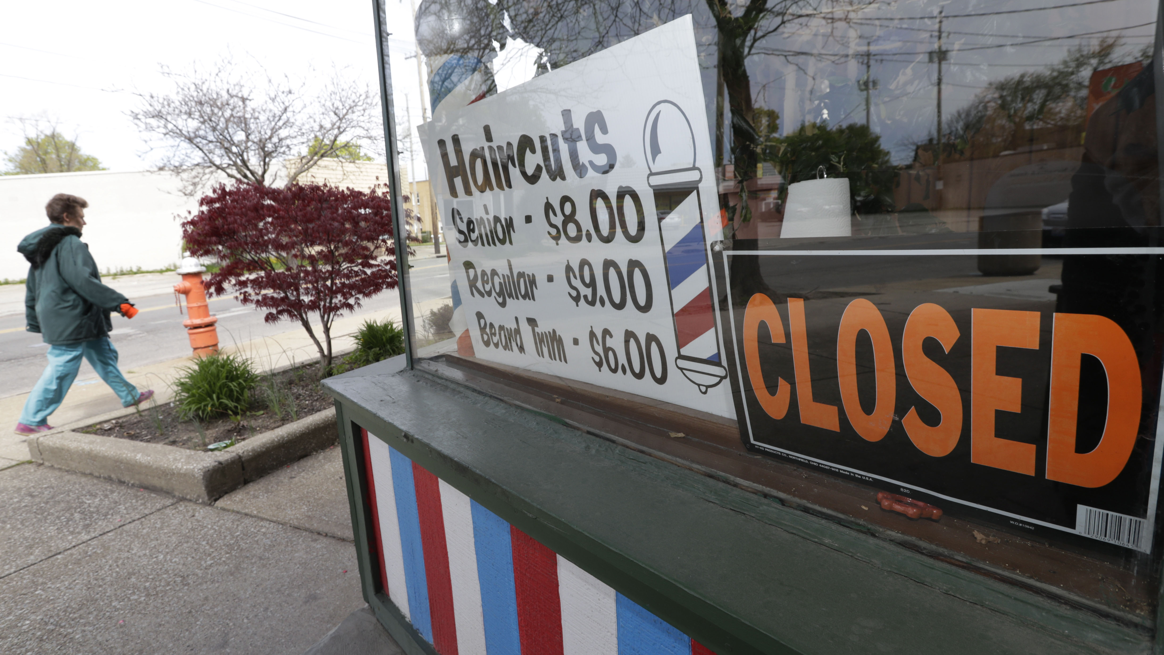 A closed barber shop is seen in Cleveland on May 6.
