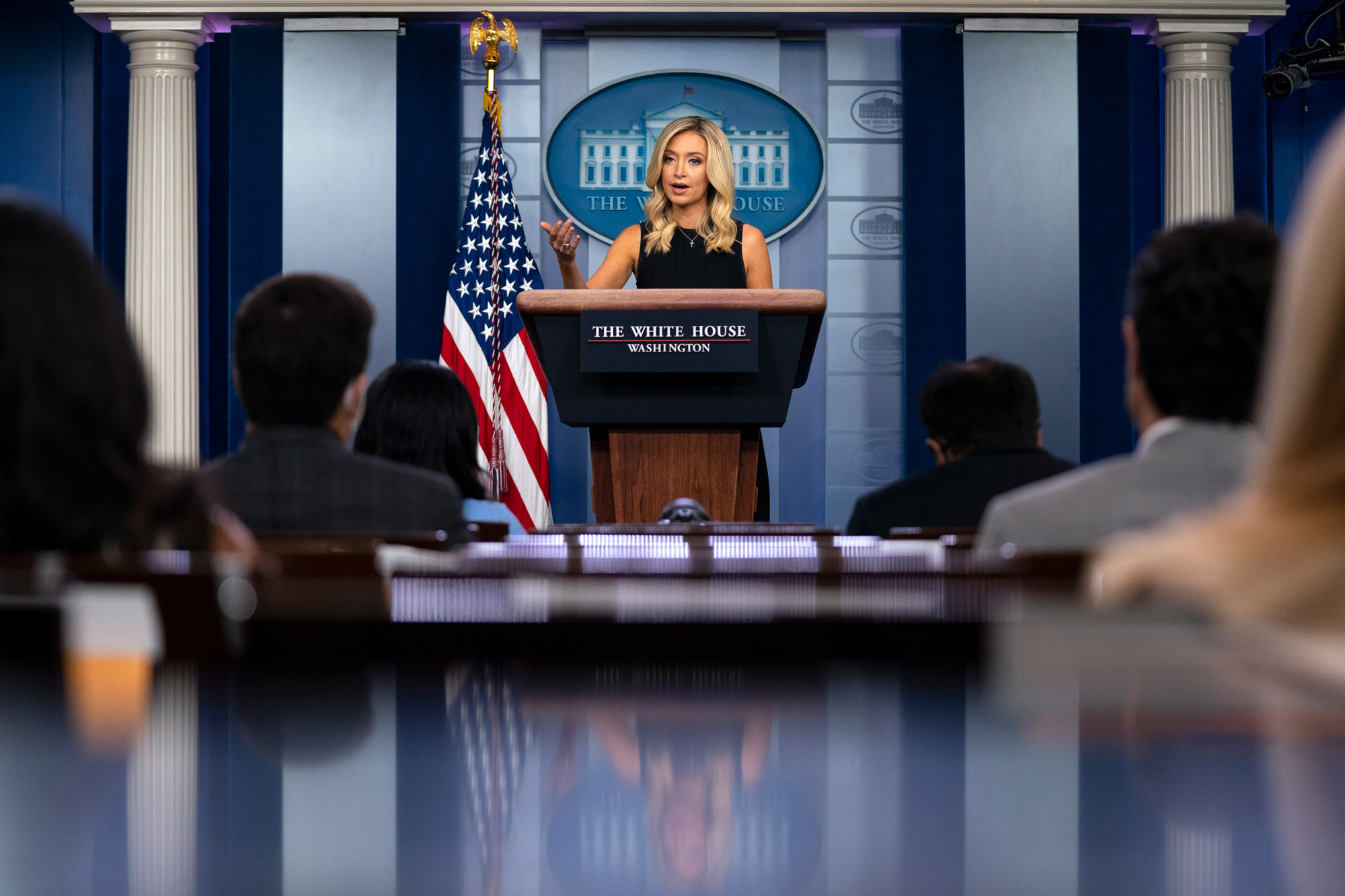 White House press secretary Kayleigh McEnany speaks during a press briefing at the White House on July 21 in Washington, DC.