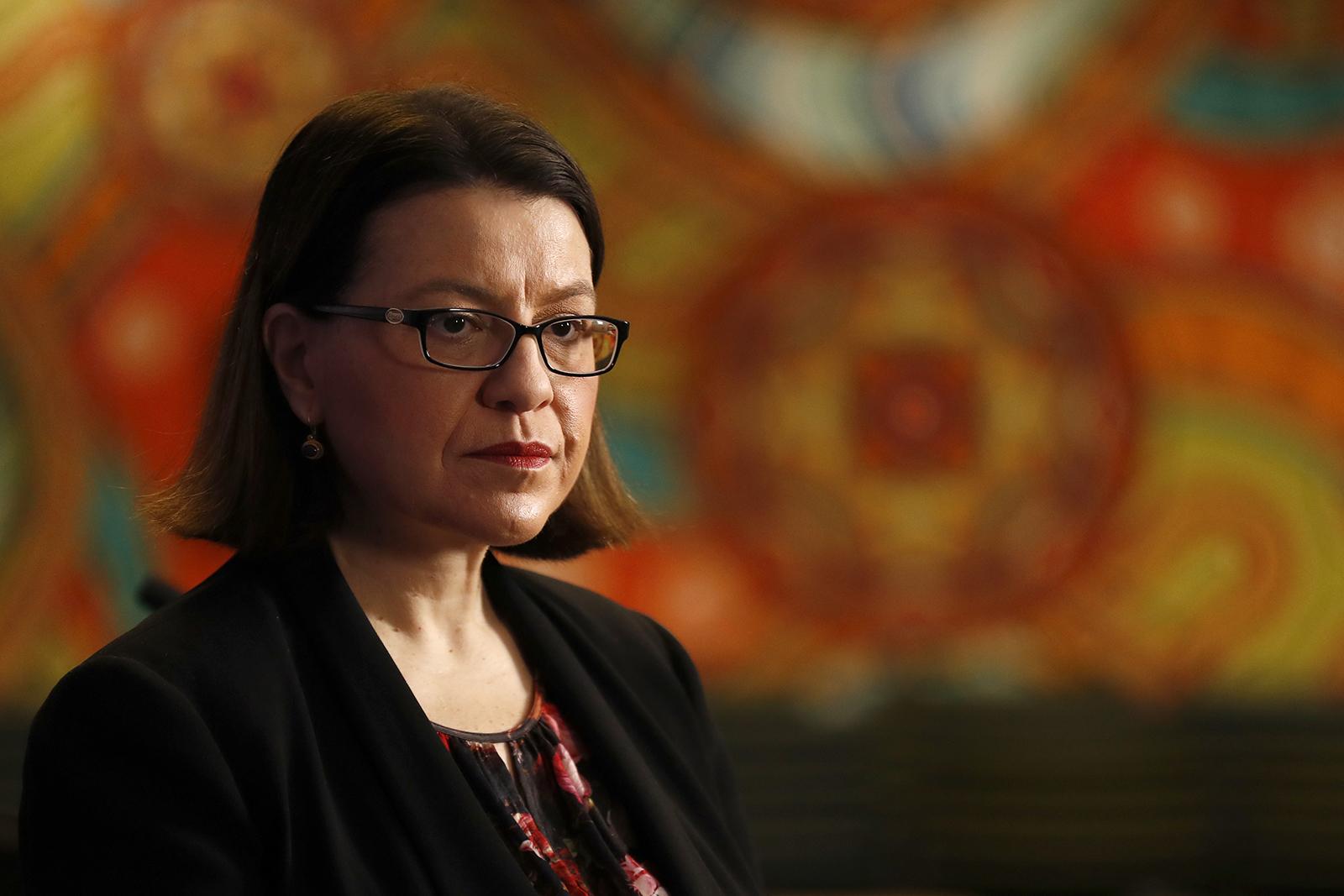 Jenny Mikakos speaks to the media on June 22 in Melbourne.