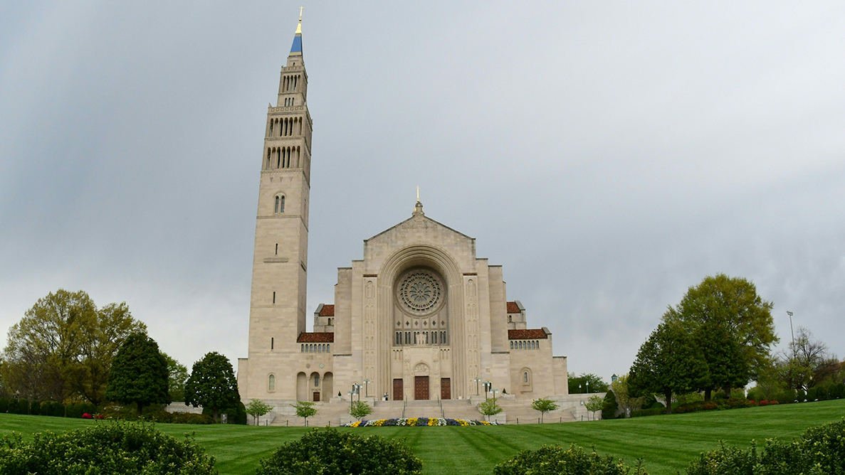 In this April 12 photo, the Basilica of the National Shrine of the Immaculate Conception stands empty in Washington, DC.
