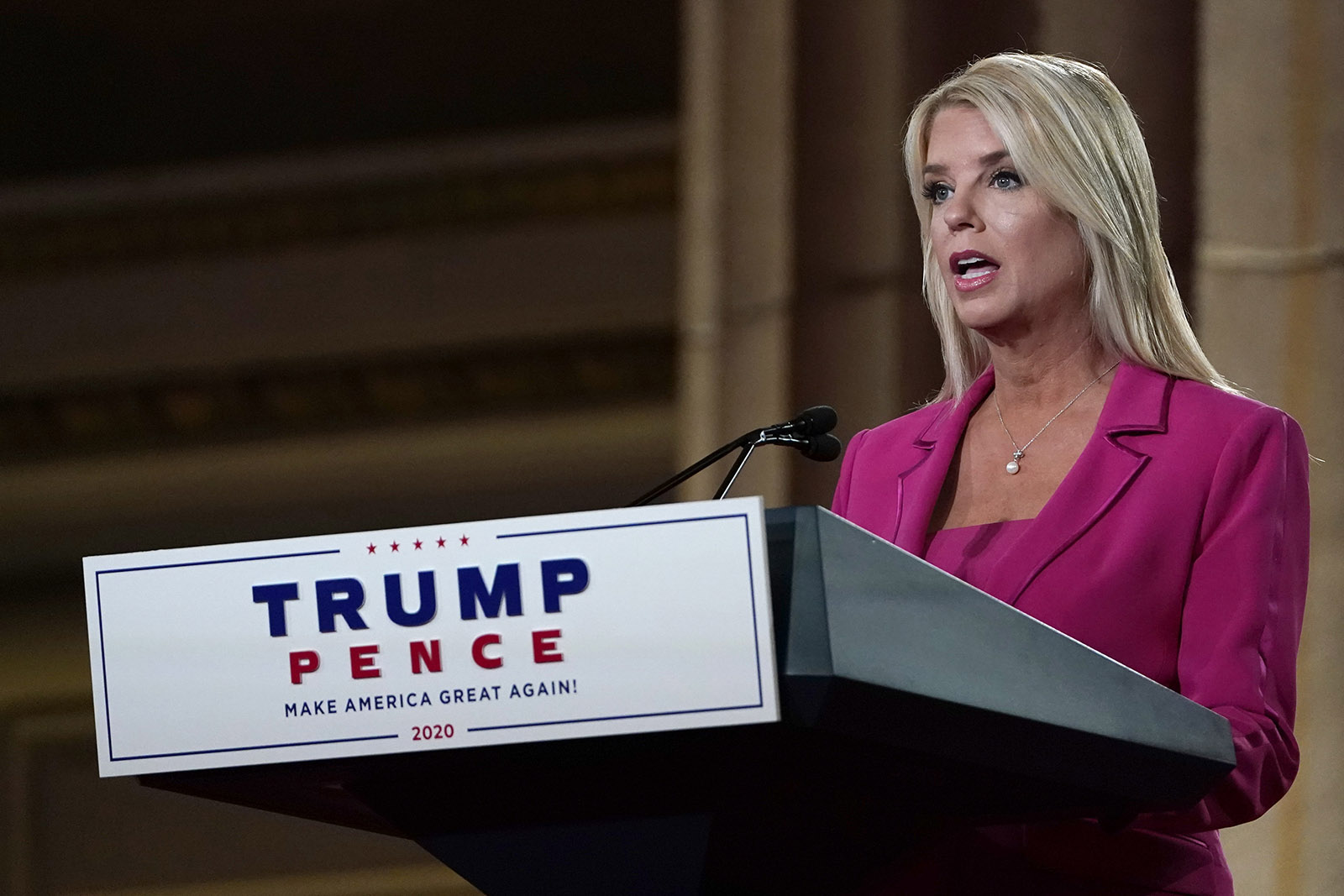 Former Florida Attorney General Pam Bondi speaks during the second day of the Republican National Convention from the Andrew W. Mellon Auditorium in Washington, Tuesday, August 25.