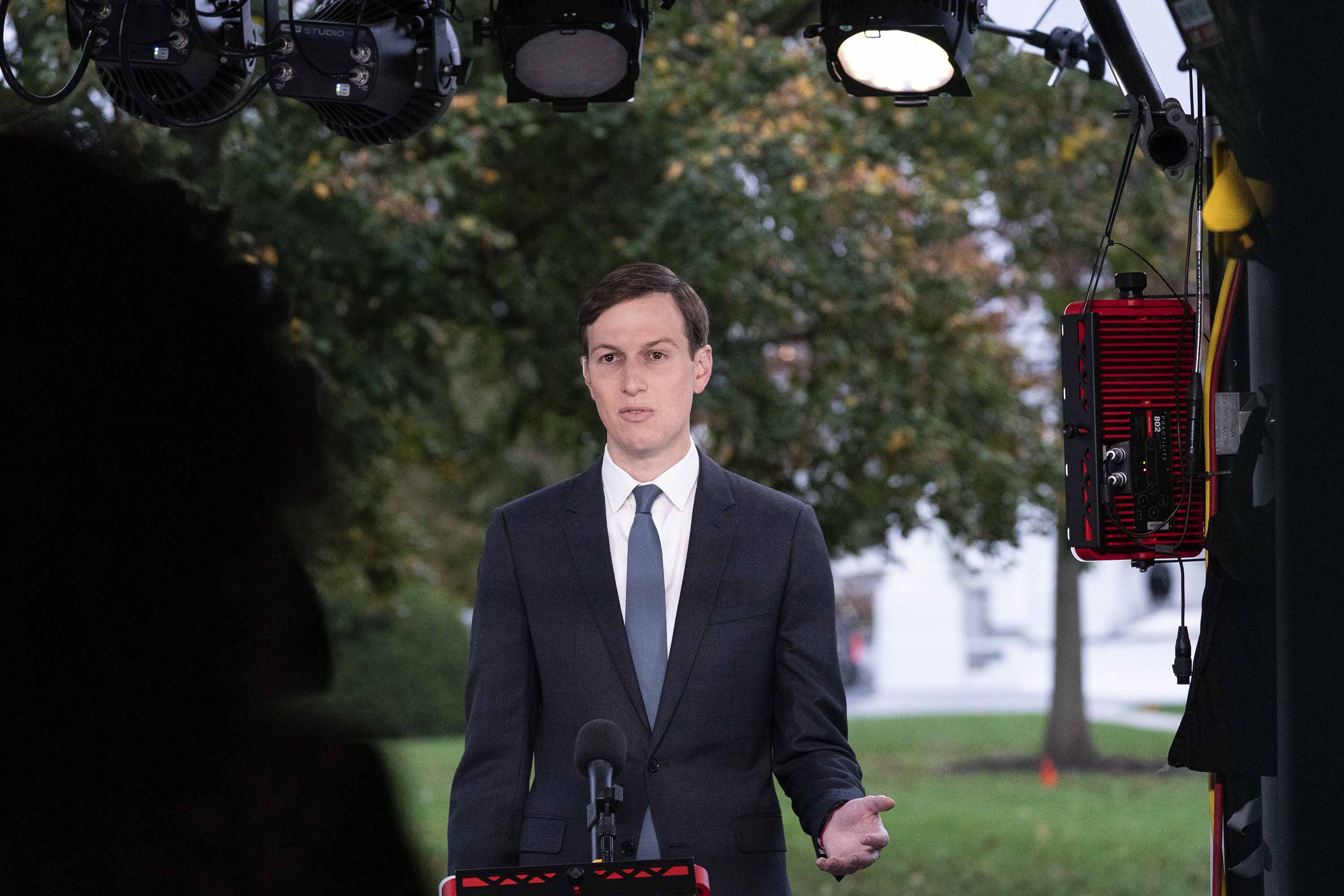 White House senior adviser Jared Kushner takes part in a television interview at the White House, on Monday, October 26.