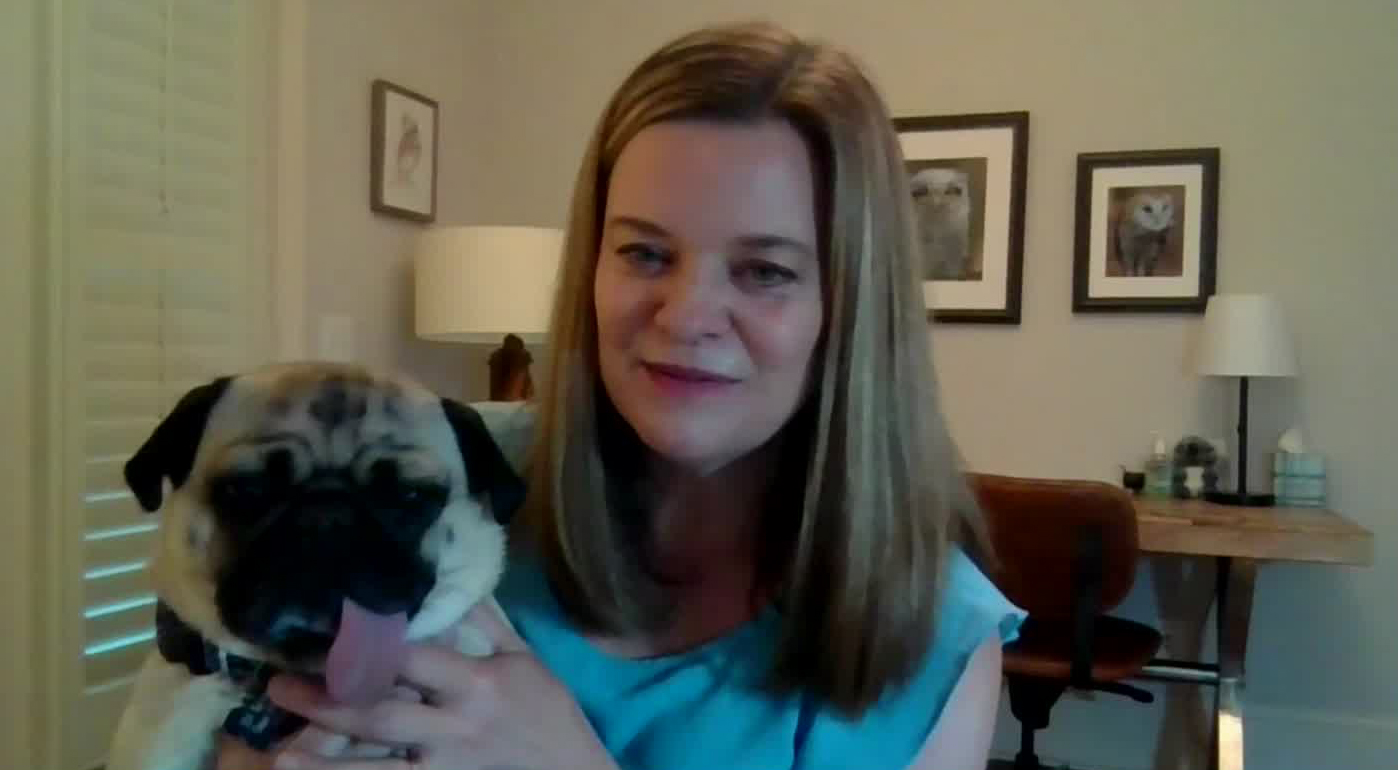 """Winston the pug with his owner Dr. Heather McLean on CNN's """"New Day"""" on April 29."""
