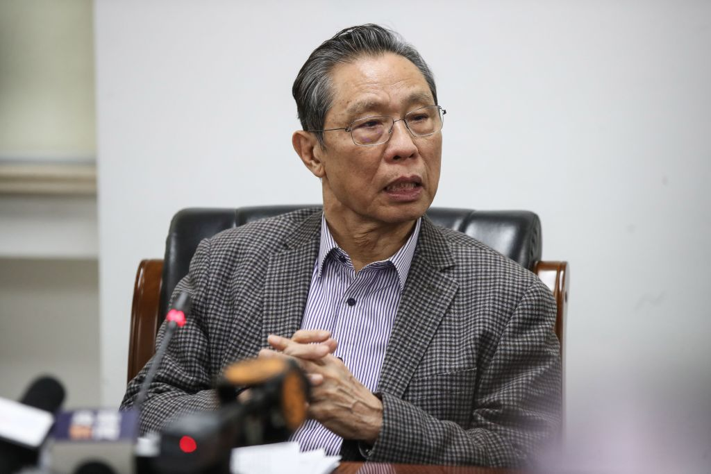 Zhong Nanshan speaks at a news conference in Beijing on January 20.
