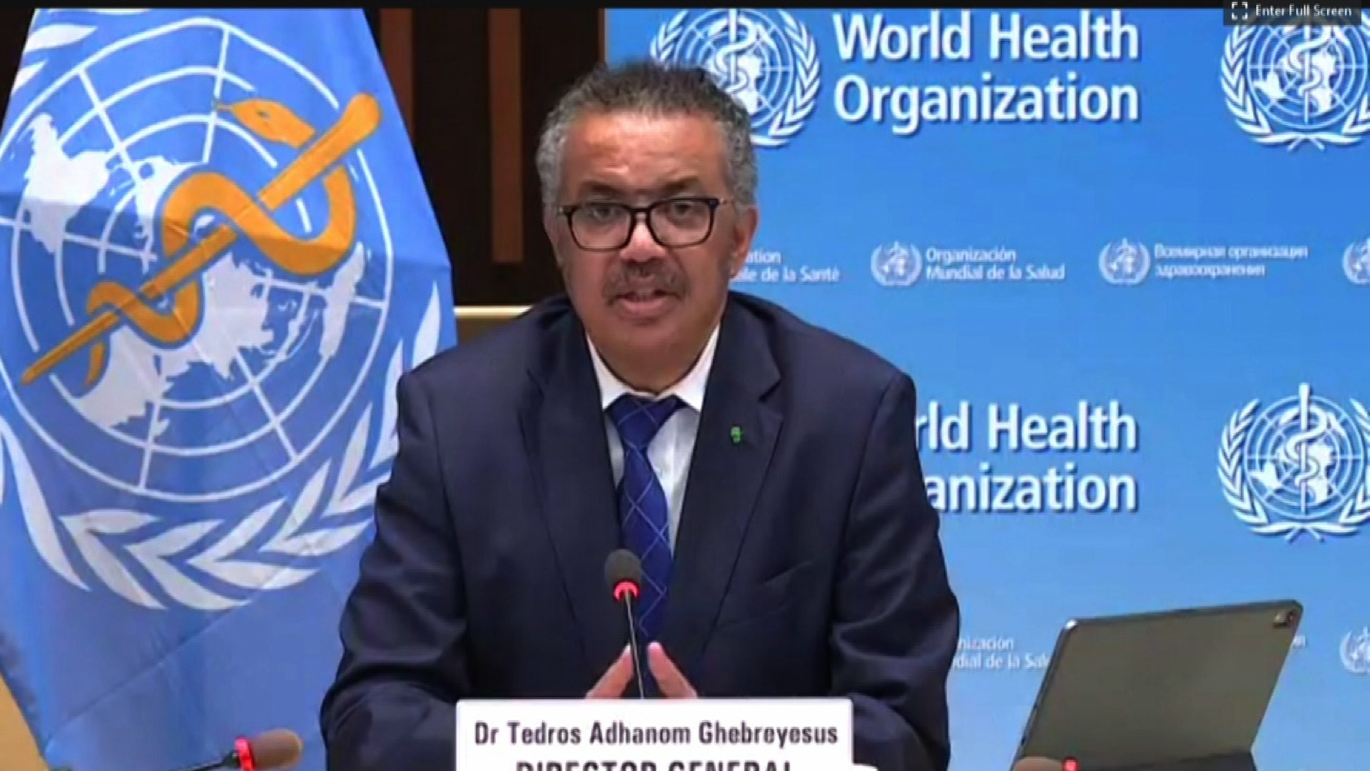 Tedros Adhanom Ghebreyesus, WHO director-general, speaks during a news conference in Geneva, Switzerland, on September 28.