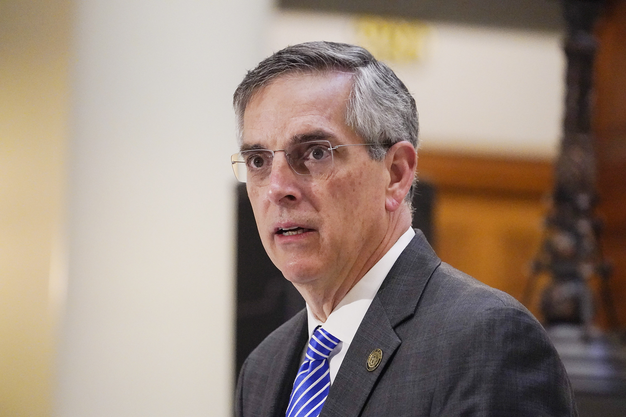 Georgia Secretary of State Brad Raffensperger speaks during a news conference in Atlanta, on November 20.