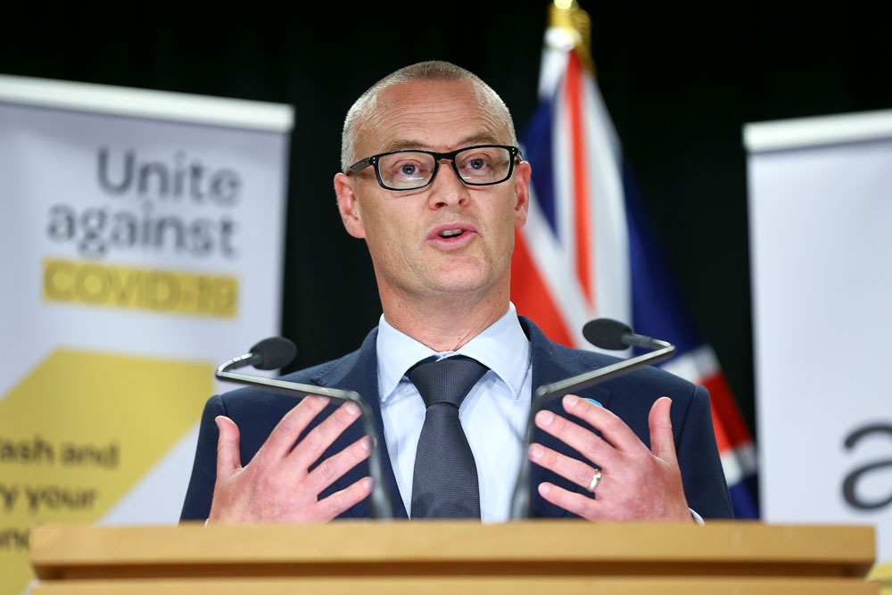 New Zealand Health minister David Clark speaks to media during a news conference on March 19 in Wellington, New Zealand.