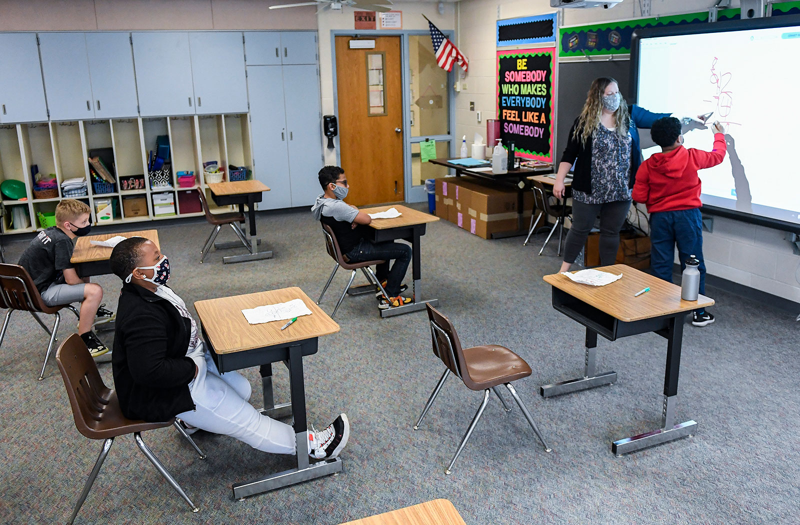 Sabrina Werley works with her students during a math class in Cumru Township, Pennsylvania, on April 14.