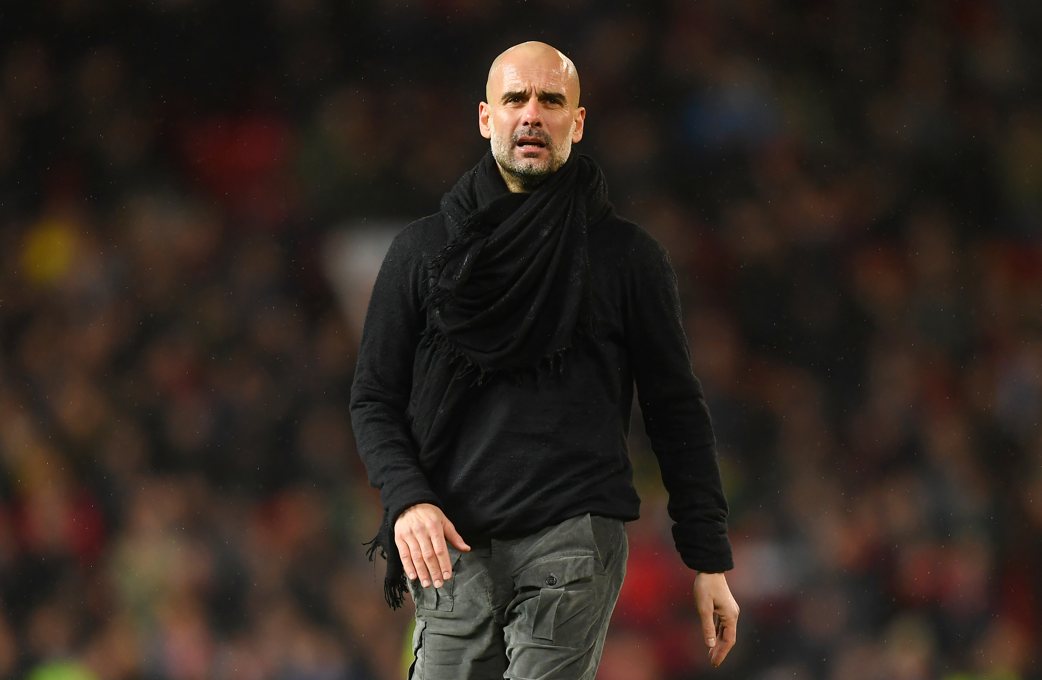 Manchester City manager Pep Guardiola during the Premier League match between Manchester United and Manchester City at Old Trafford on March 8.