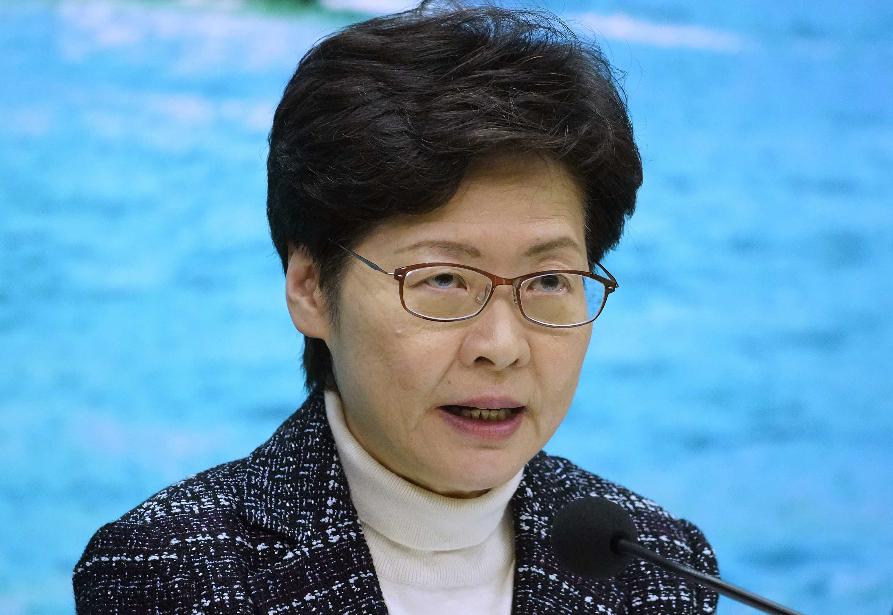 Hong Kong Chief Executive Carrie Lam speaks during a press conference in Hong Kong on Wednesday.