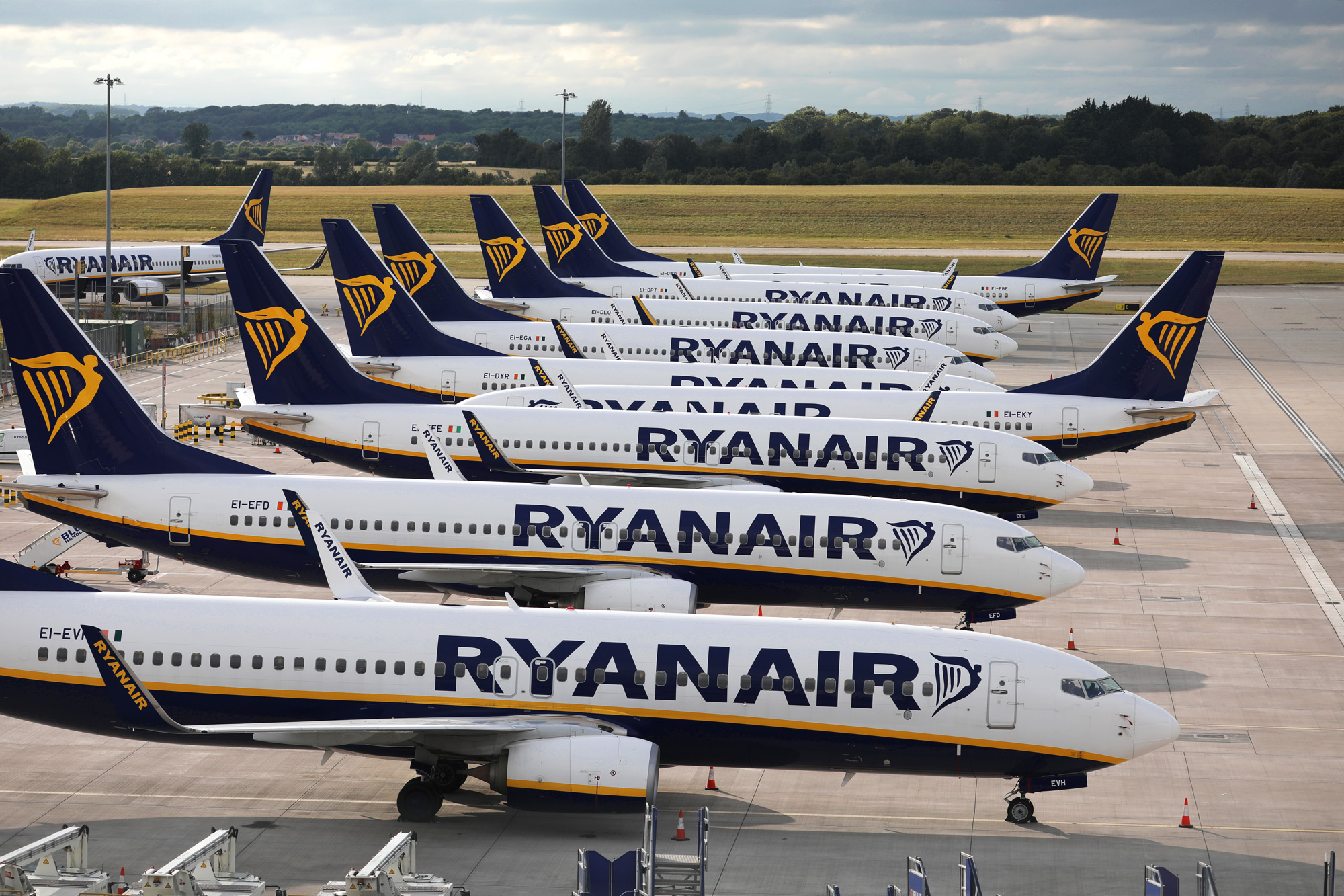 Ryanair planes are parked in a stand at Stansted Airport on June 30 in Stansted, United Kingdom.