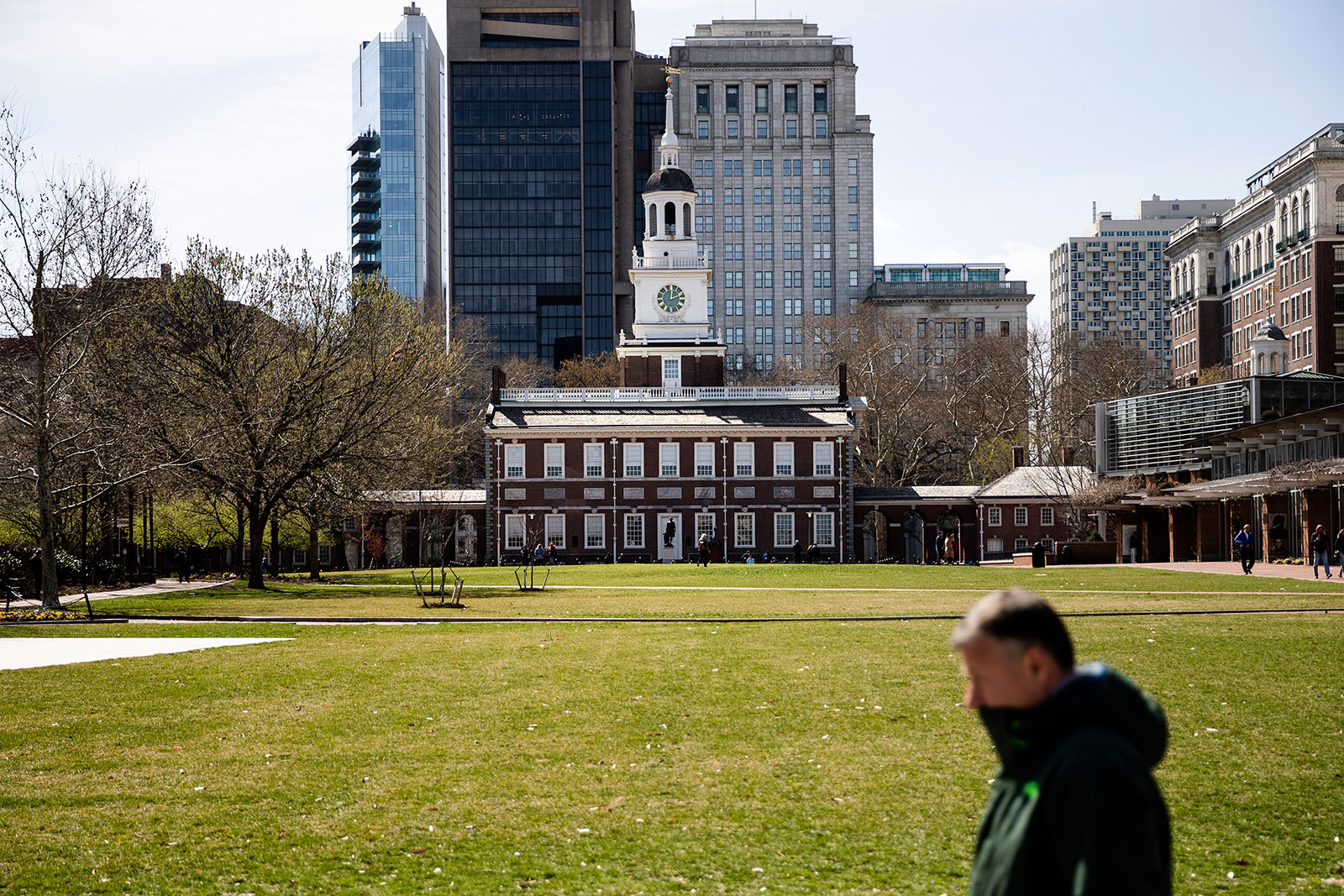A pedestrian walks past Independence Hall in Philadelphia on Monday, March 16.
