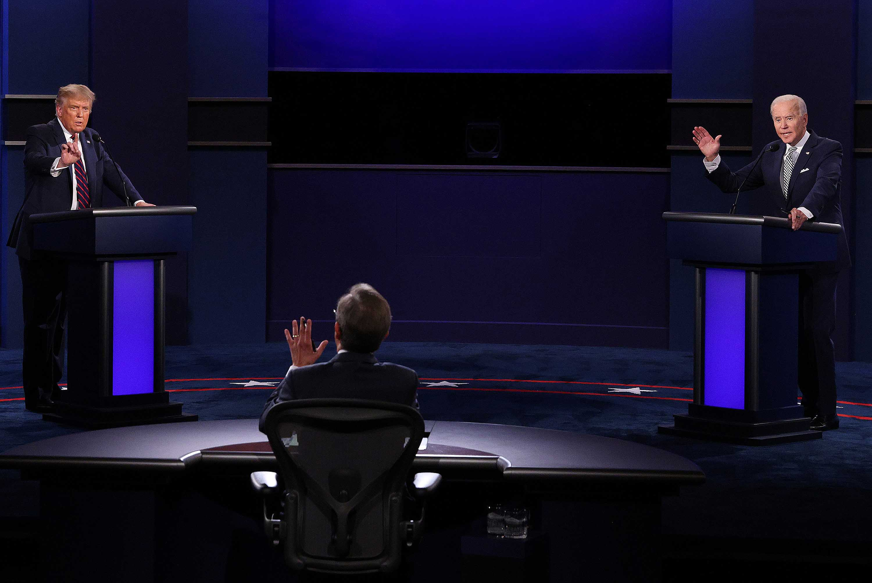 U.S. President Donald Trump and Democratic presidential nominee Joe Biden participate in the first presidential debate in Cleveland, Ohio, on September 29.