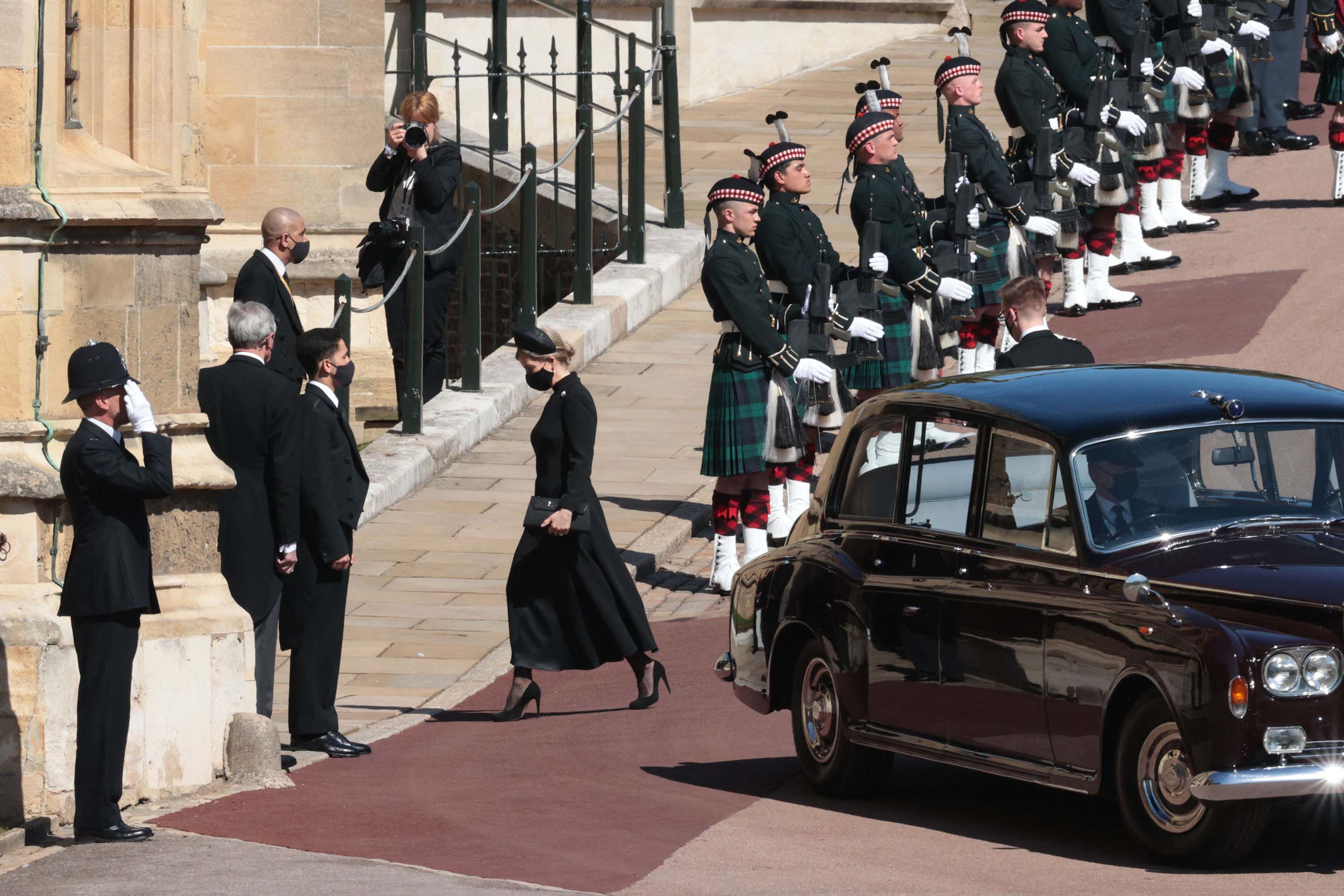Britain's Sophie, Countess of Wessex arrives for the funeral service.
