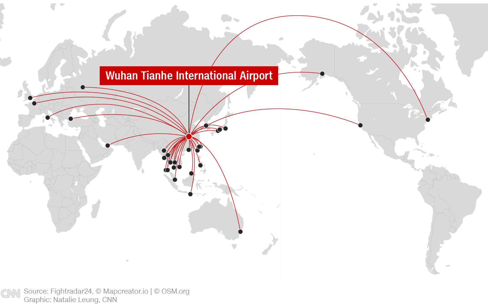 Wuhan's direct international flight links.