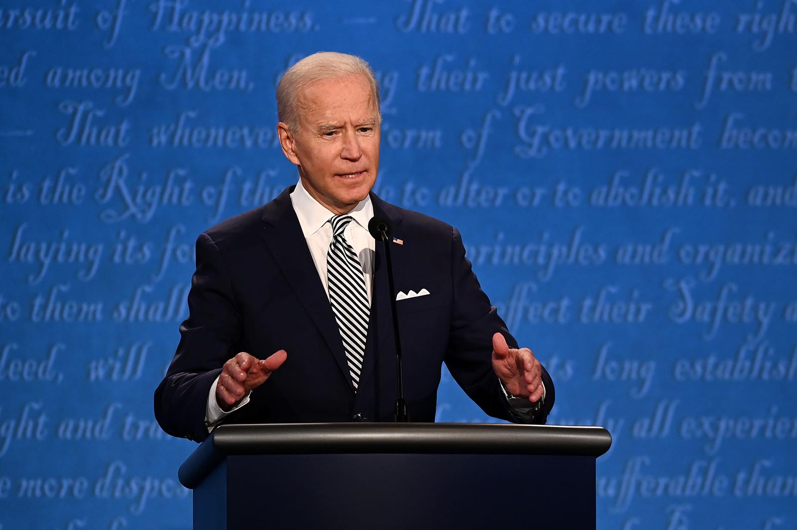 Democratic Presidential nominee Joe Biden speaks during the first presidential debate at the Case Western Reserve University and Cleveland Clinic in Cleveland, Ohio on September 29.