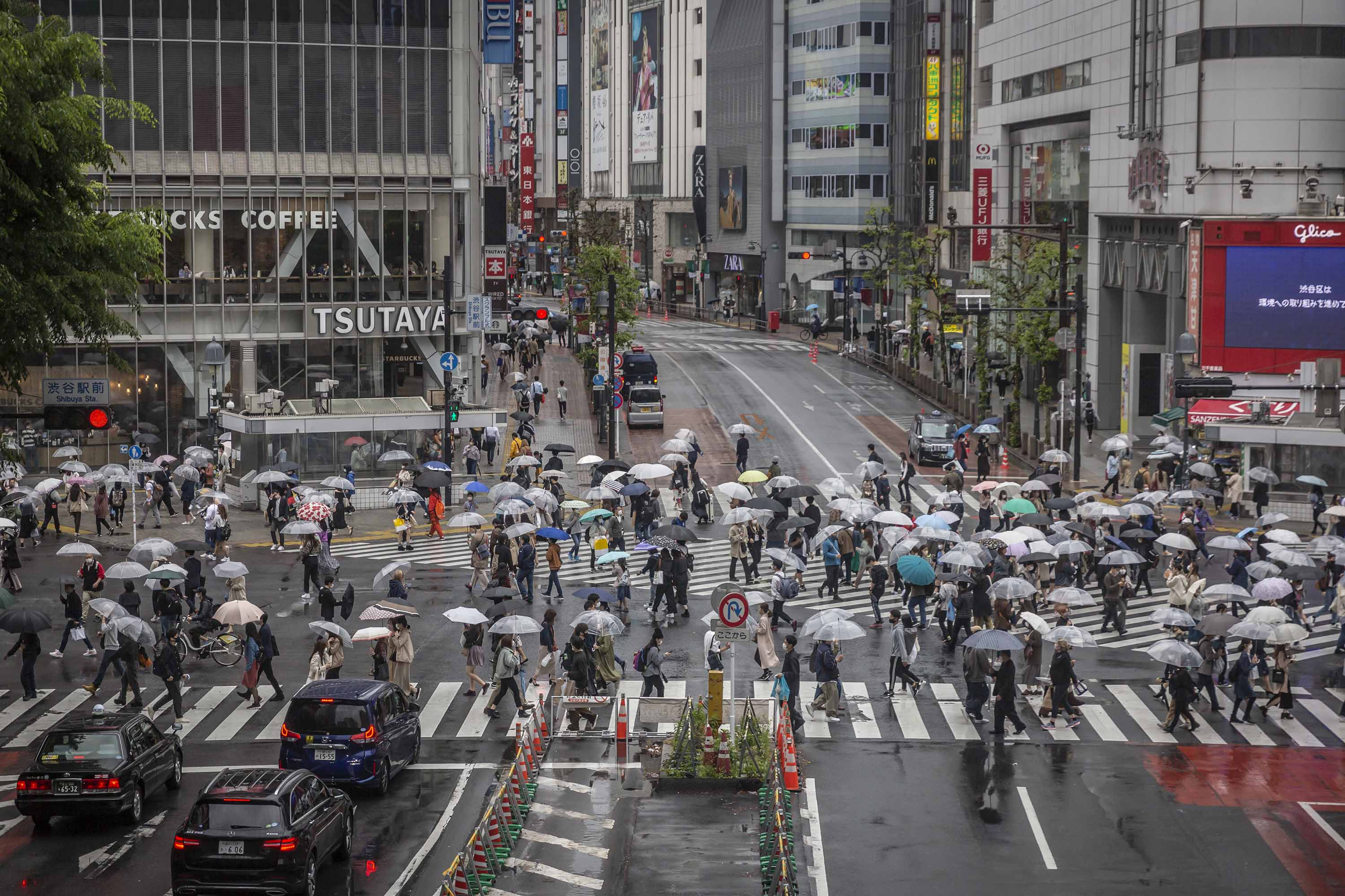 Pedestrians are seen at Shibuya crossing in Tokyo, Japan, on April 29.