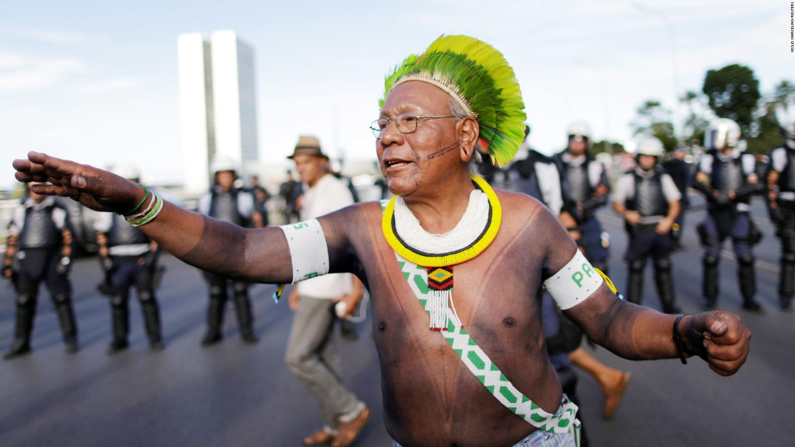 Indigenous leader Paulinho Paiakan of the Kayapo community takes part in a demonstration for indigenous people's rights in Brasilia, Brazil, in April 2017.