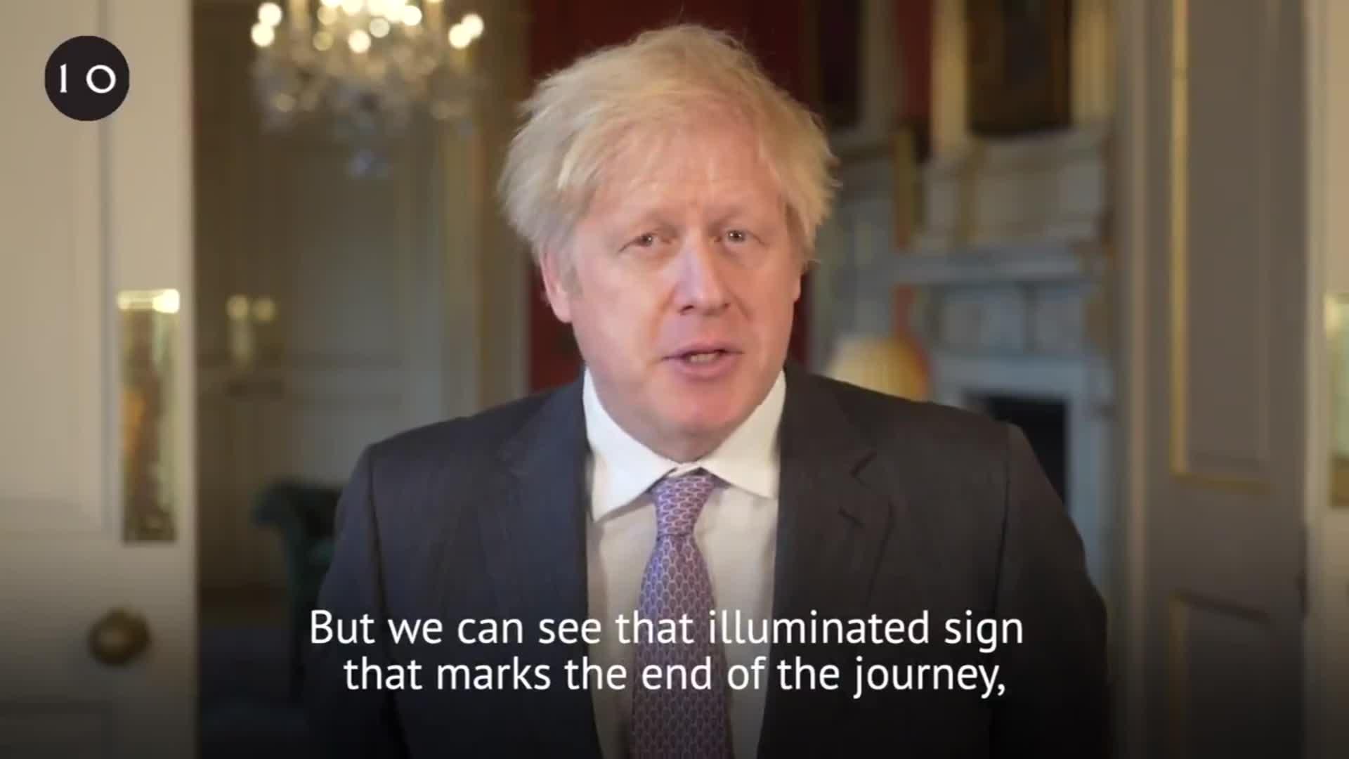 UK Prime Minister Boris Johnson speaks during his New Year's address on December 31.