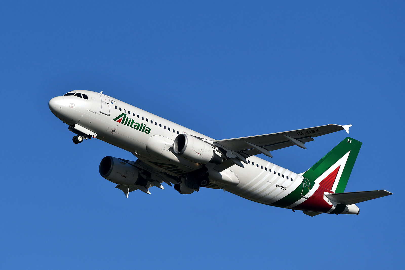 An Alitalia Airbus A320 takes off from Rome's Fiumicino airport on May 31, 2019.