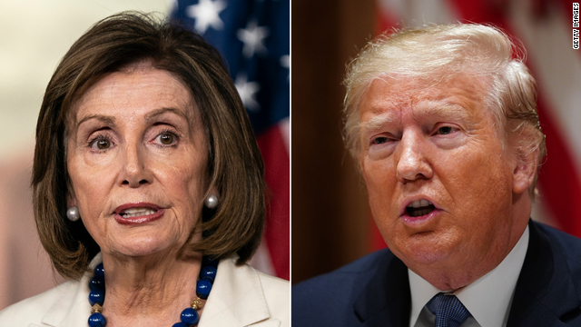 A photo split shows separately House Speaker Nancy Pelosi, left, and President Donald Trump.