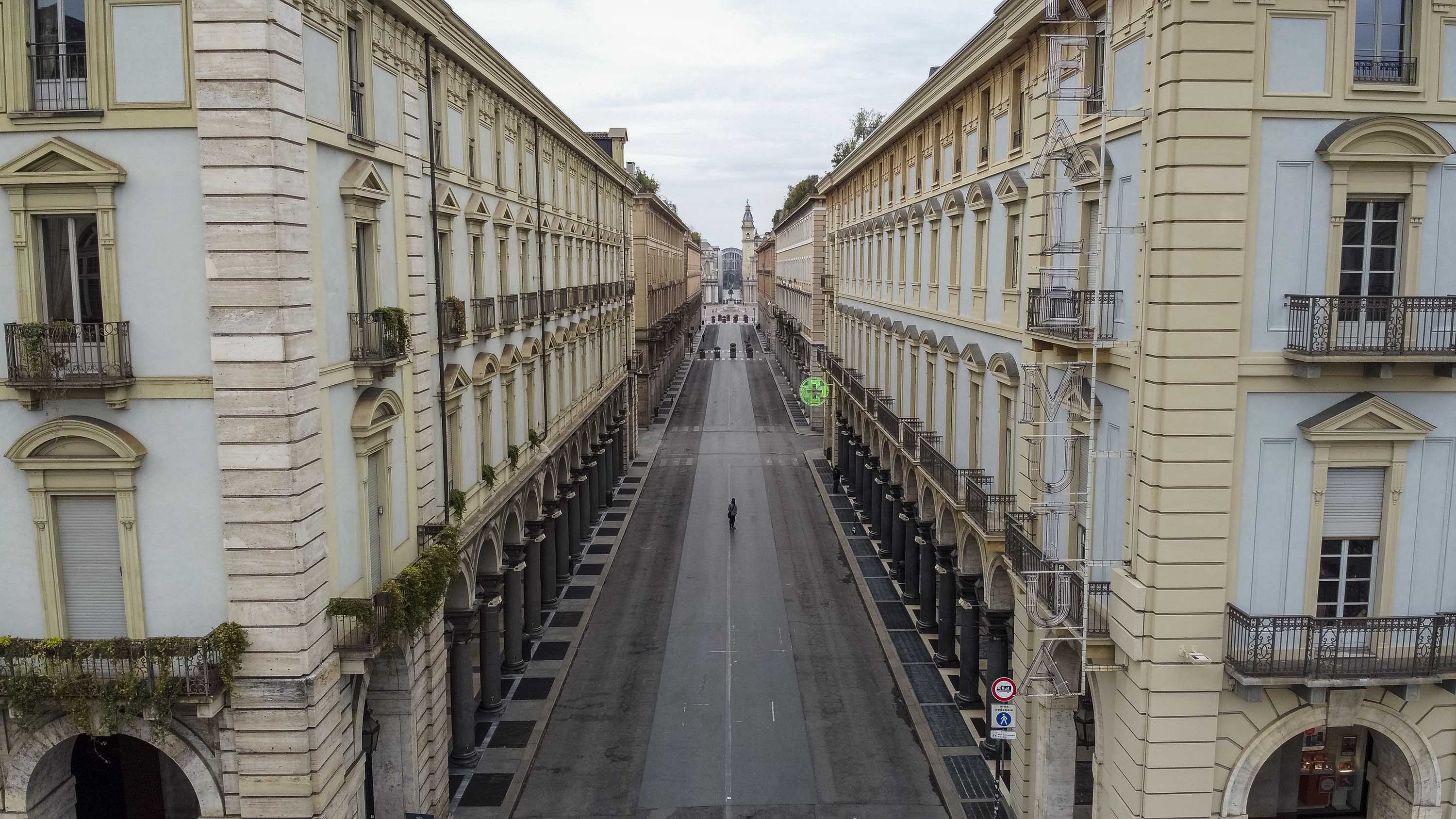A drone view of a street in Turin, Italy on March 15.