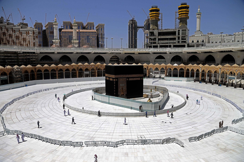 Muslim worshippers circumambulate the sacred Kaaba at the Grand Mosque in Mecca, Saudi Arabia, in April.