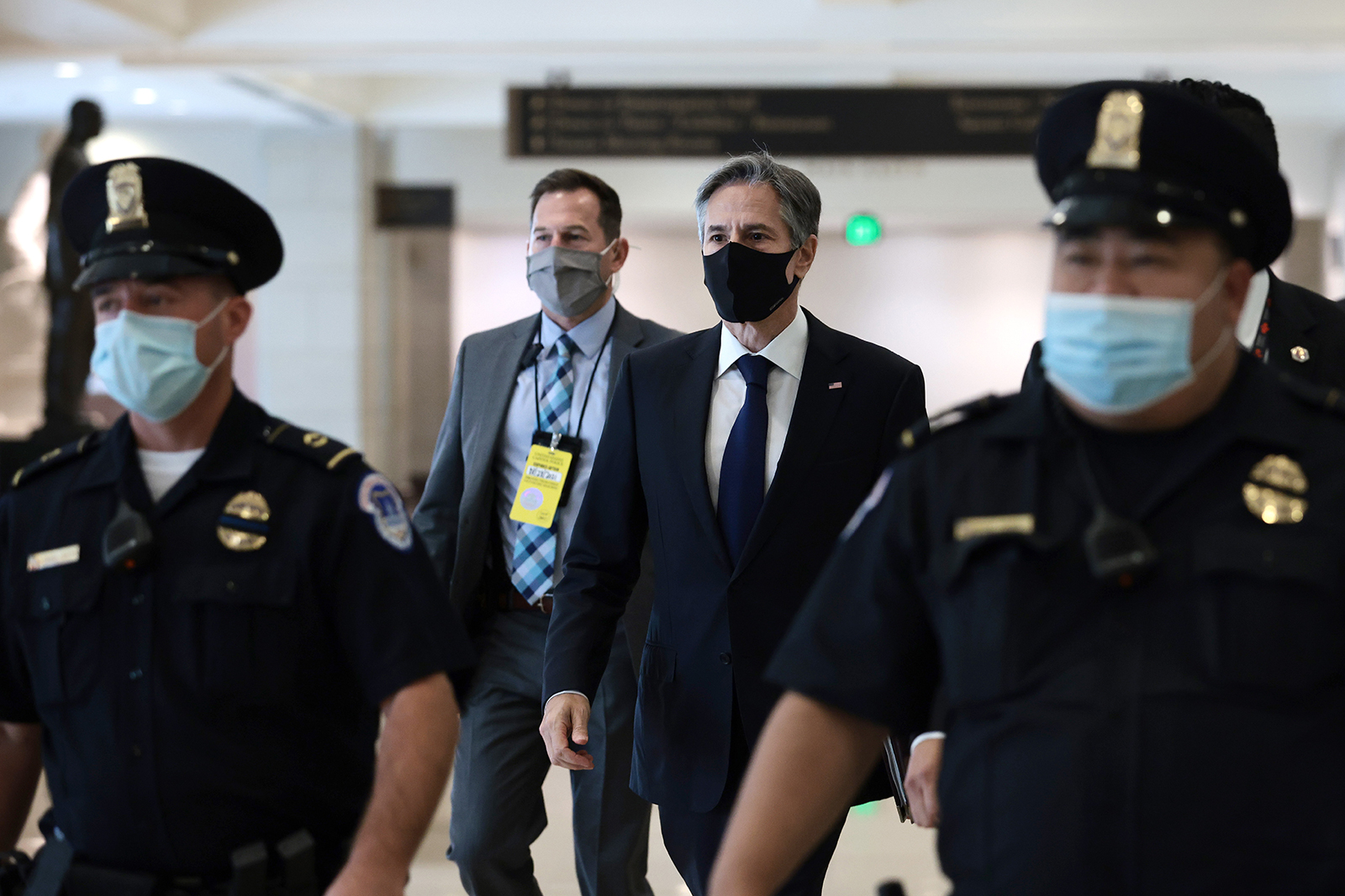 Secretary State Antony Blinken departs from a briefing with the House of Representatives on the situation in Afghanistan at the U.S. Capitol on August 24 in Washington.