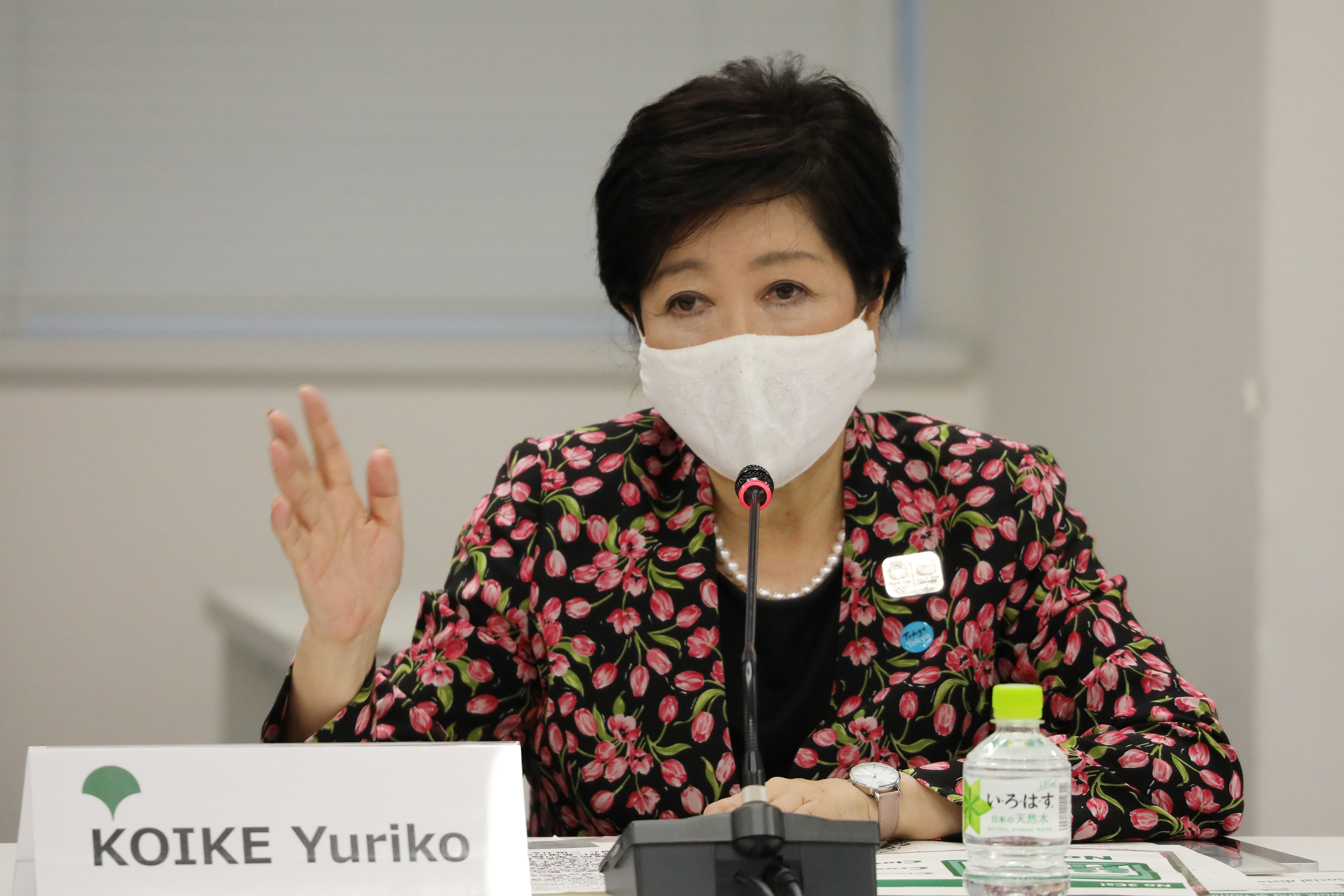 Tokyo governor Yuriko Koike speaks during a meeting with the International Olympic Committee (IOC) Coordination Commission for the Tokyo 2020 Olympic Games in Tokyo in September.