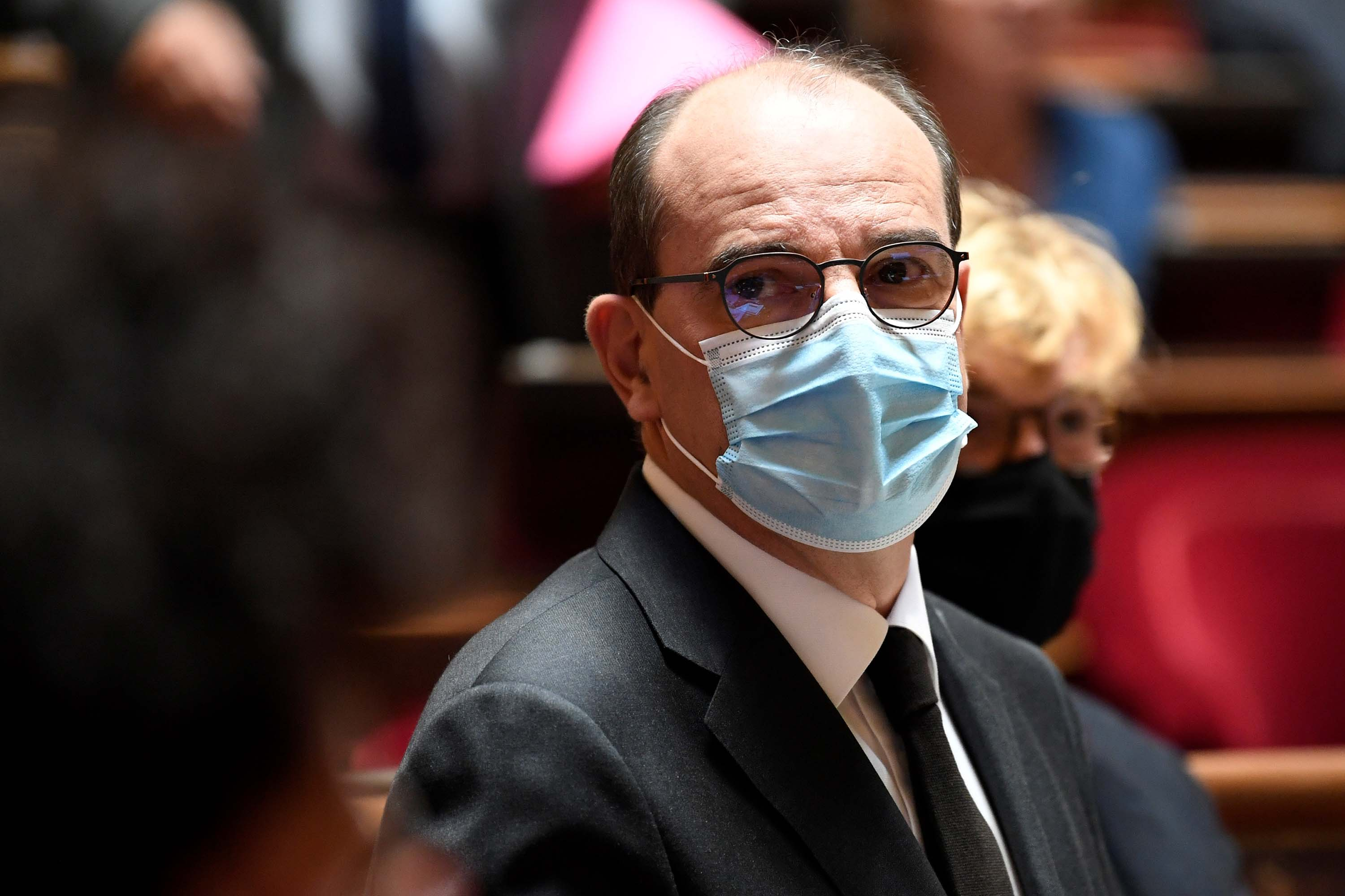 French Prime Minister Jean Castex wears a protective face mask at the French Senate in Paris, on Thursday, July 16.
