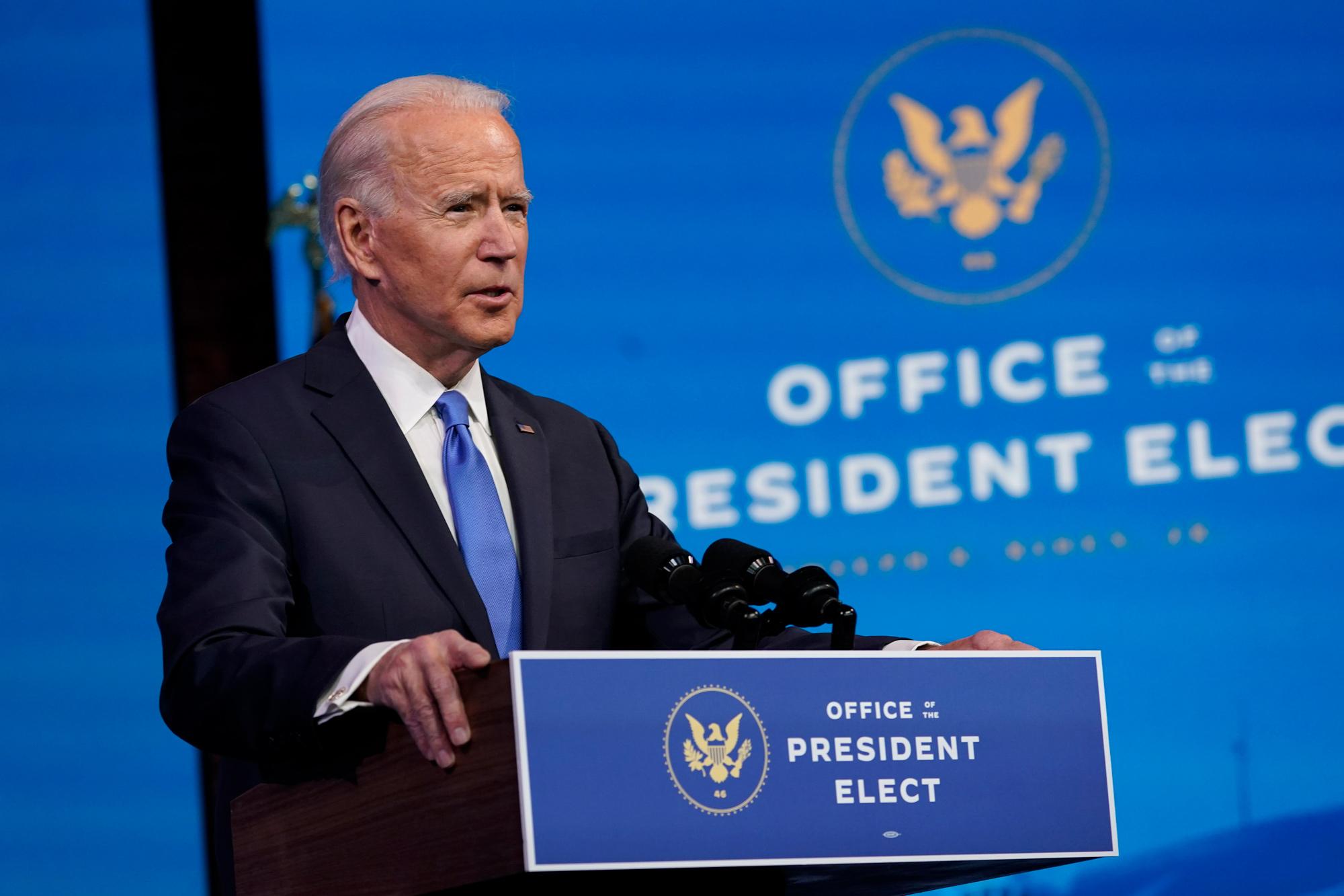 President-elect Joe Biden speaks on December 14 at The Queen theater in Wilmington, Delaware.
