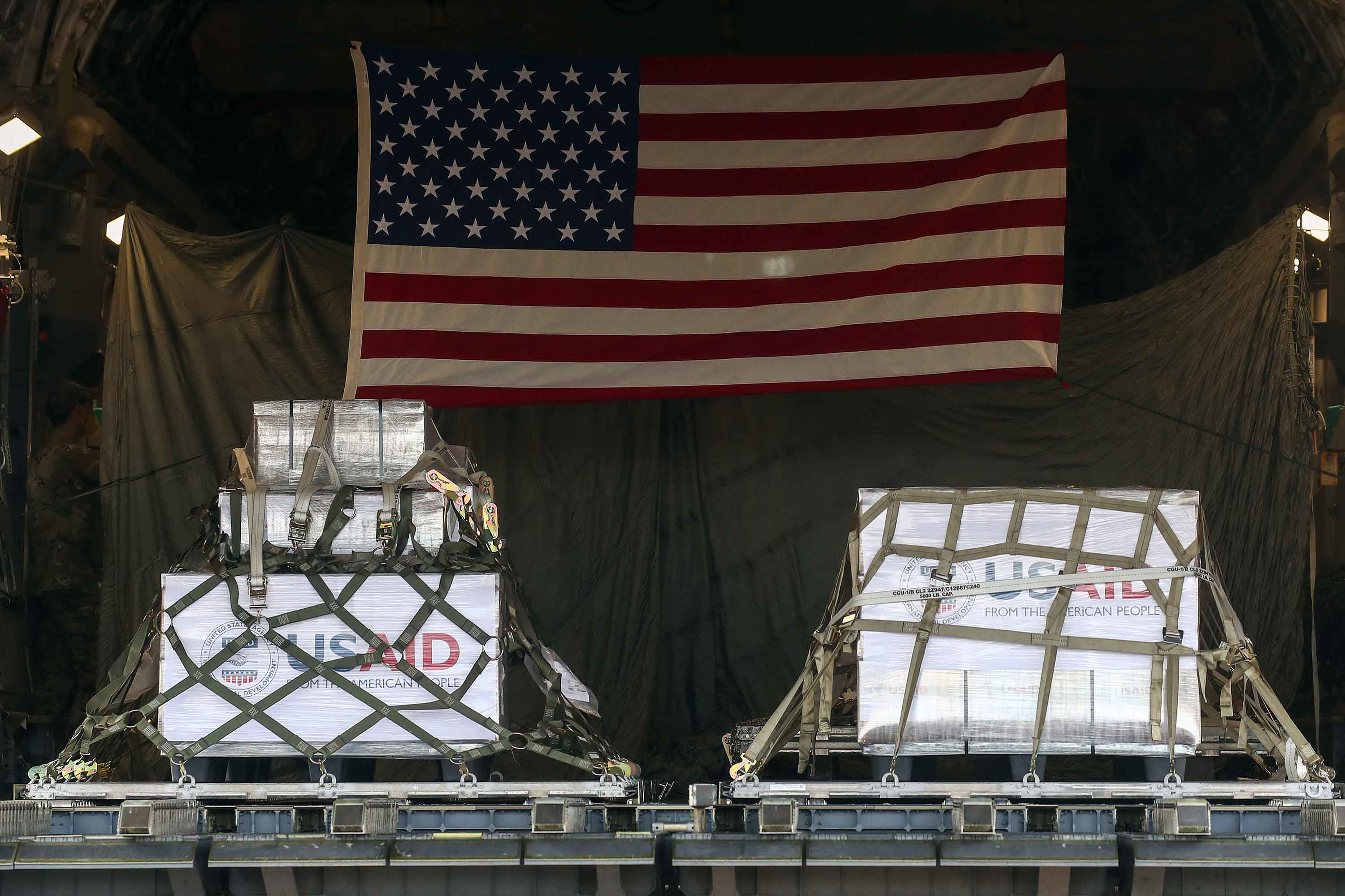 Medical ventilators are seen aboard a United States Air Force military transport aircraft after landing at Vnukovo-3 Airport in Moscow, on Thursday, May 21.
