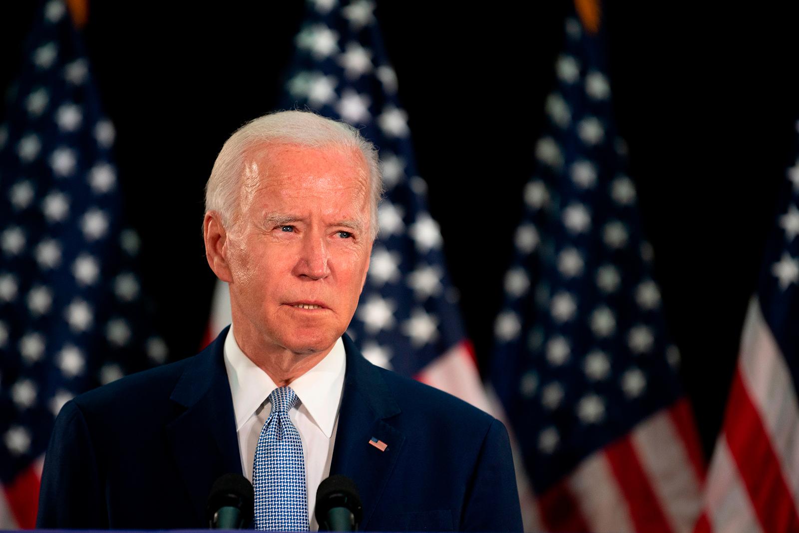 Former Vice President Joe Biden speaks at Delaware State University's student center in Dover, Delaware, on Friday, June 5.