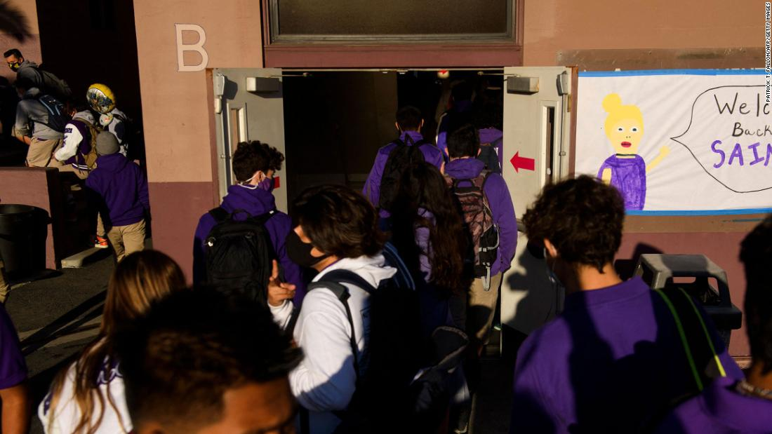Students return to in-person learning at St. Anthony Catholic High School during the Covid-19 pandemic on March 24 in Long Beach, California.