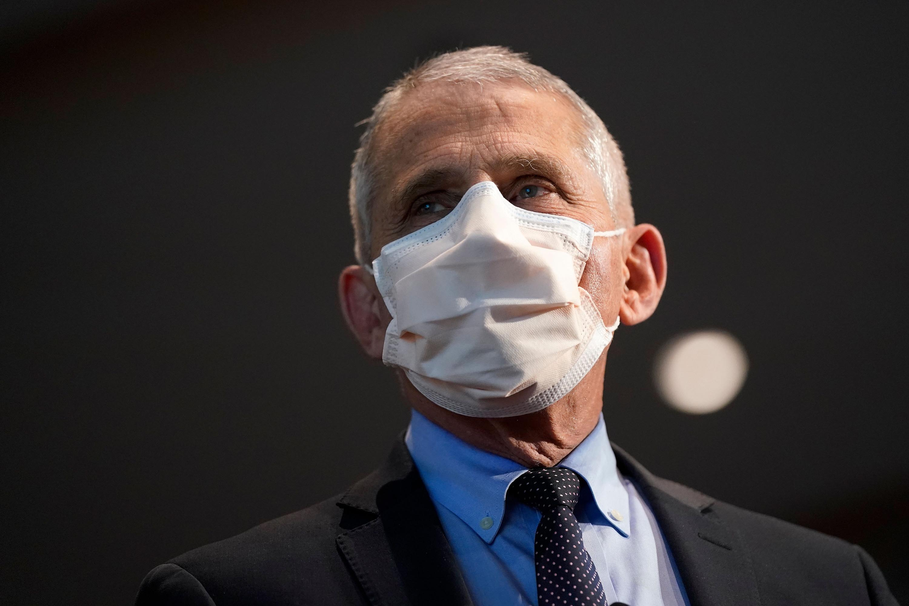 Dr. Anthony Fauci, director of the National Institute of Allergy and Infectious Diseases, is pictured before receiving his first dose of the Covid-19 vaccine on December 22, in Bethesda, Maryland.