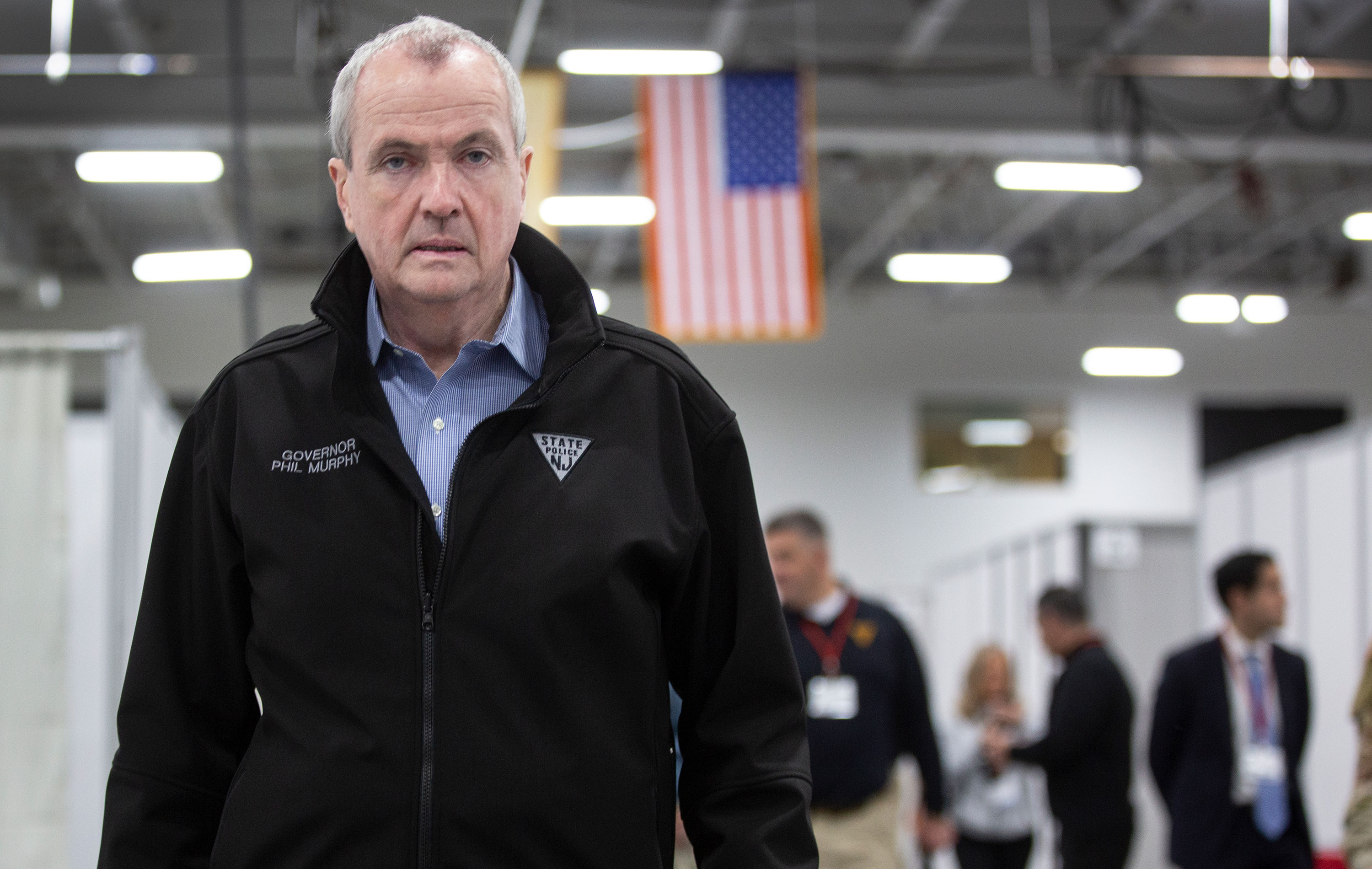New Jersey Gov. Phil Murphy tours the new Field Medical Station at the Meadowlands Exposition Center on April 2.