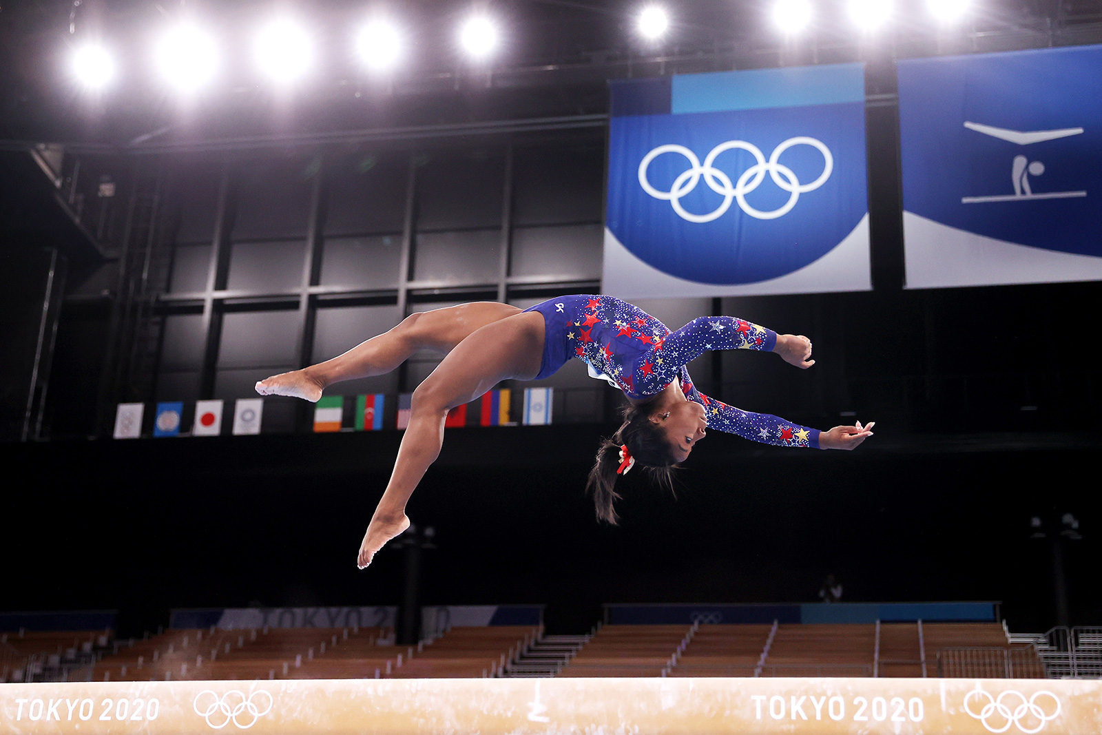 Simone Biles of the United States competes on balance beam on July 25.