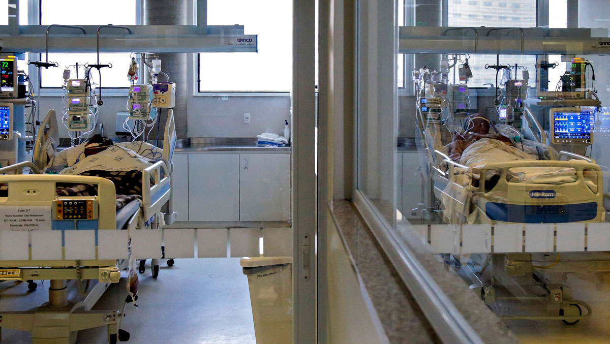 Covid-19 patients in the intensive care unit of Emilio Ribas Hospital in Sao Paulo, Brazil, on March 17.