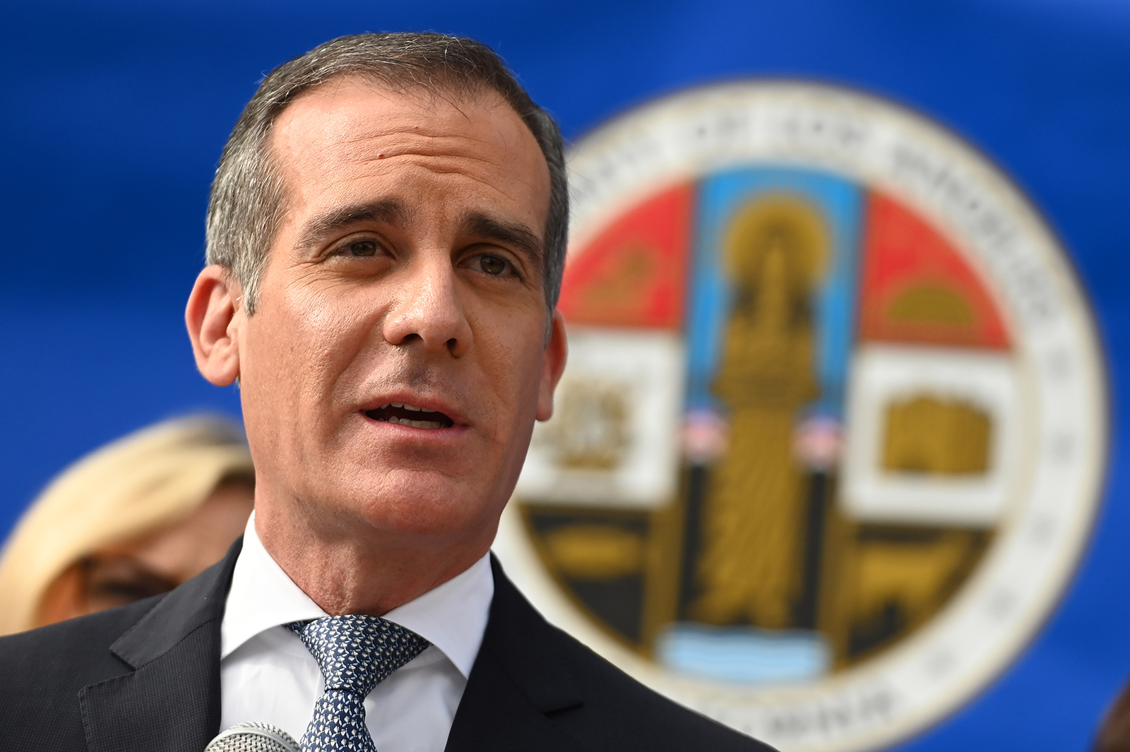 Los Angeles Mayor Eric Garcetti speaks at a Los Angeles County Health Department news conference on Covid-19 on March 4, in Los Angeles.