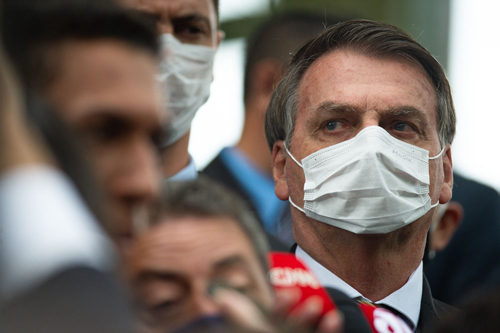 Brazil President Jair Bolsonaro attends a news conference in Brasilia on May 7.