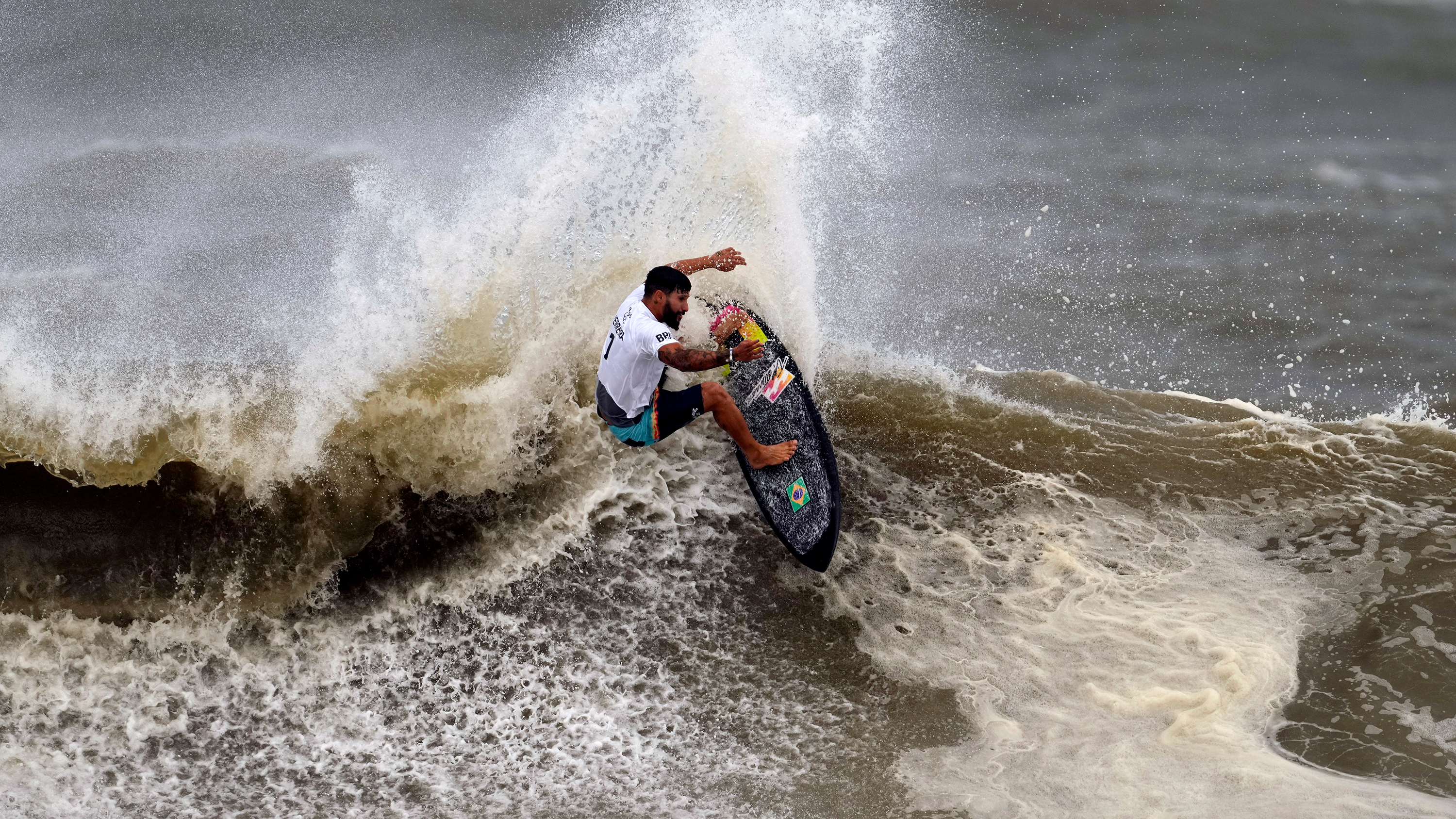 Brazil's Italo Ferreira competes in the men's surfing competition on Tuesday.