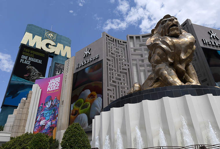 An exterior view of the marquee at MGM Grand Hotel & Casino on August 28, 2020 in Las Vegas, Nevada.