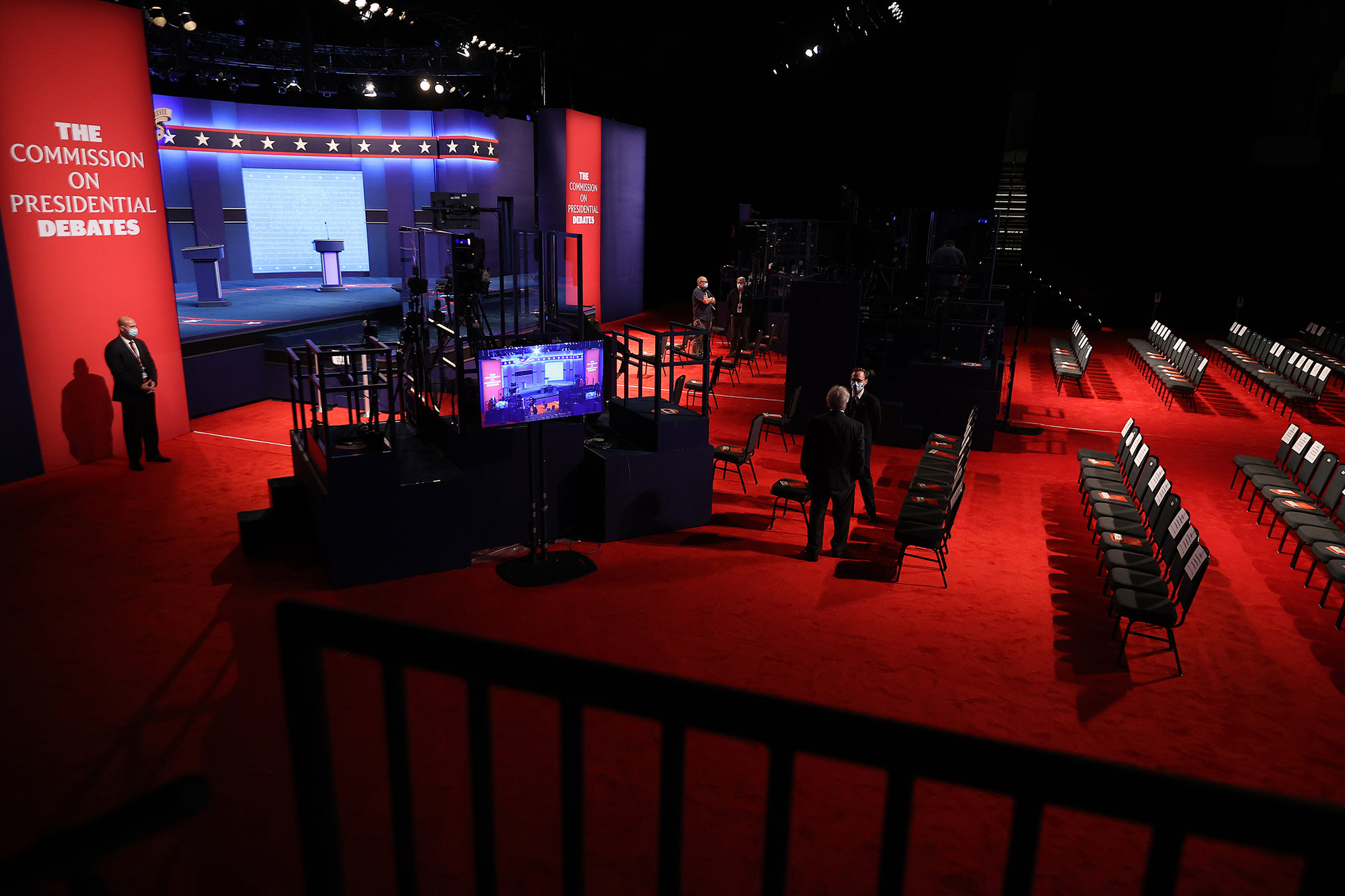 The arena is set for the second presidential debate in the Curb Event Center on the campus of Belmont University October 22, in Nashville.